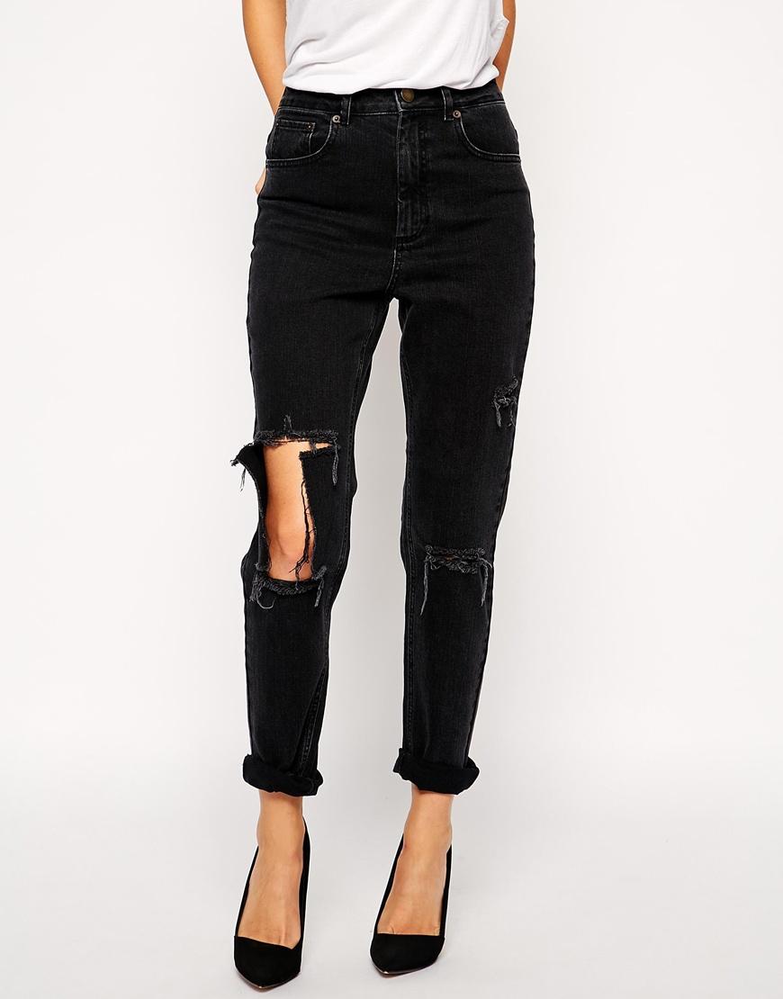asos farleigh high waist slim mom jeans in washed black. Black Bedroom Furniture Sets. Home Design Ideas
