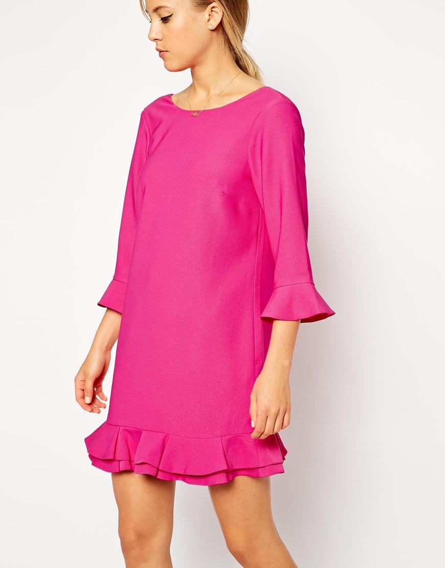 asos double peplum hem dress in pink lyst. Black Bedroom Furniture Sets. Home Design Ideas