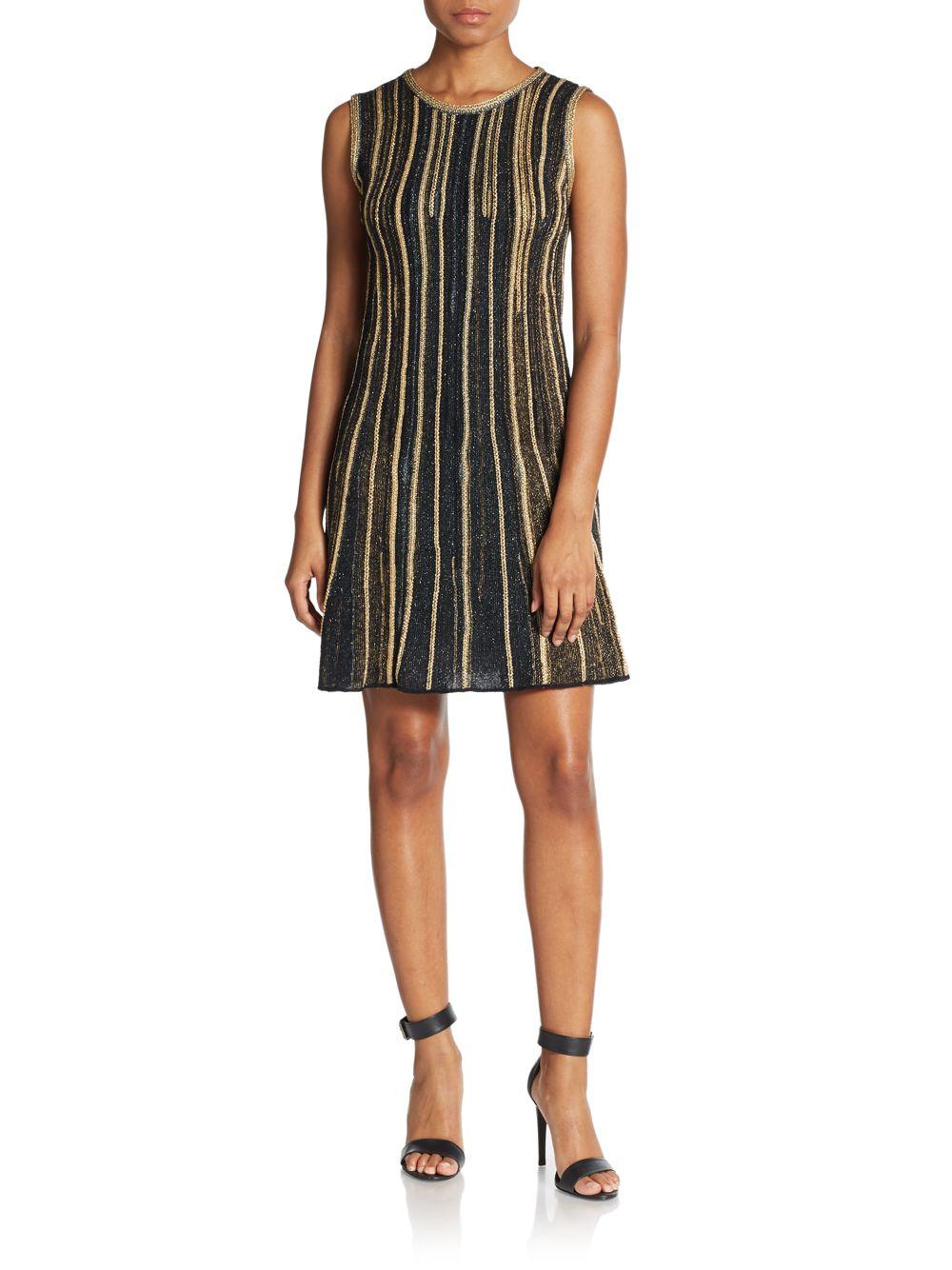 Lyst M Missoni Lurex Vertical Stripe A Line Dress In Blue