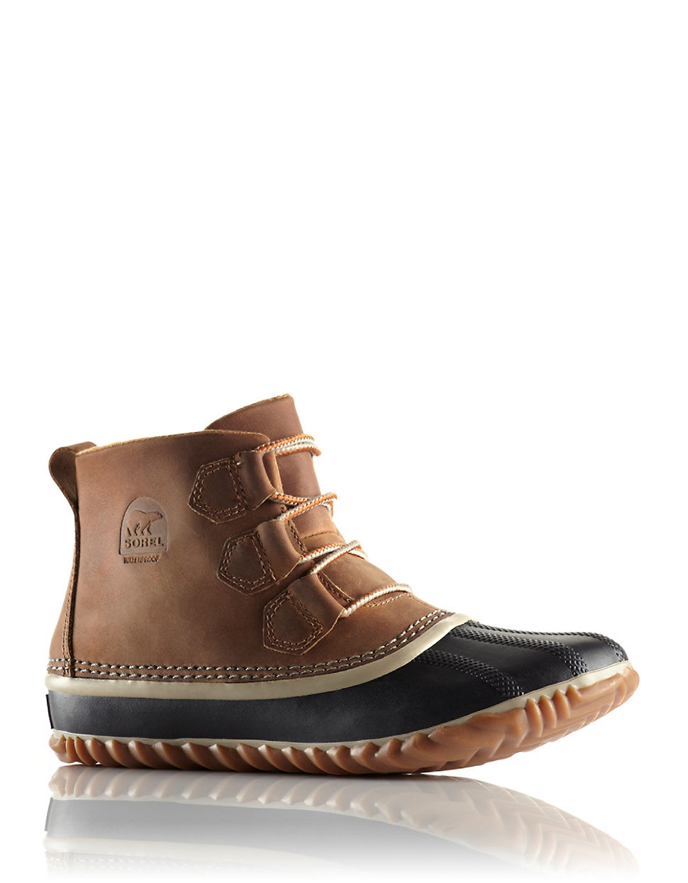 sorel out and about leather and rubber ankle boots in