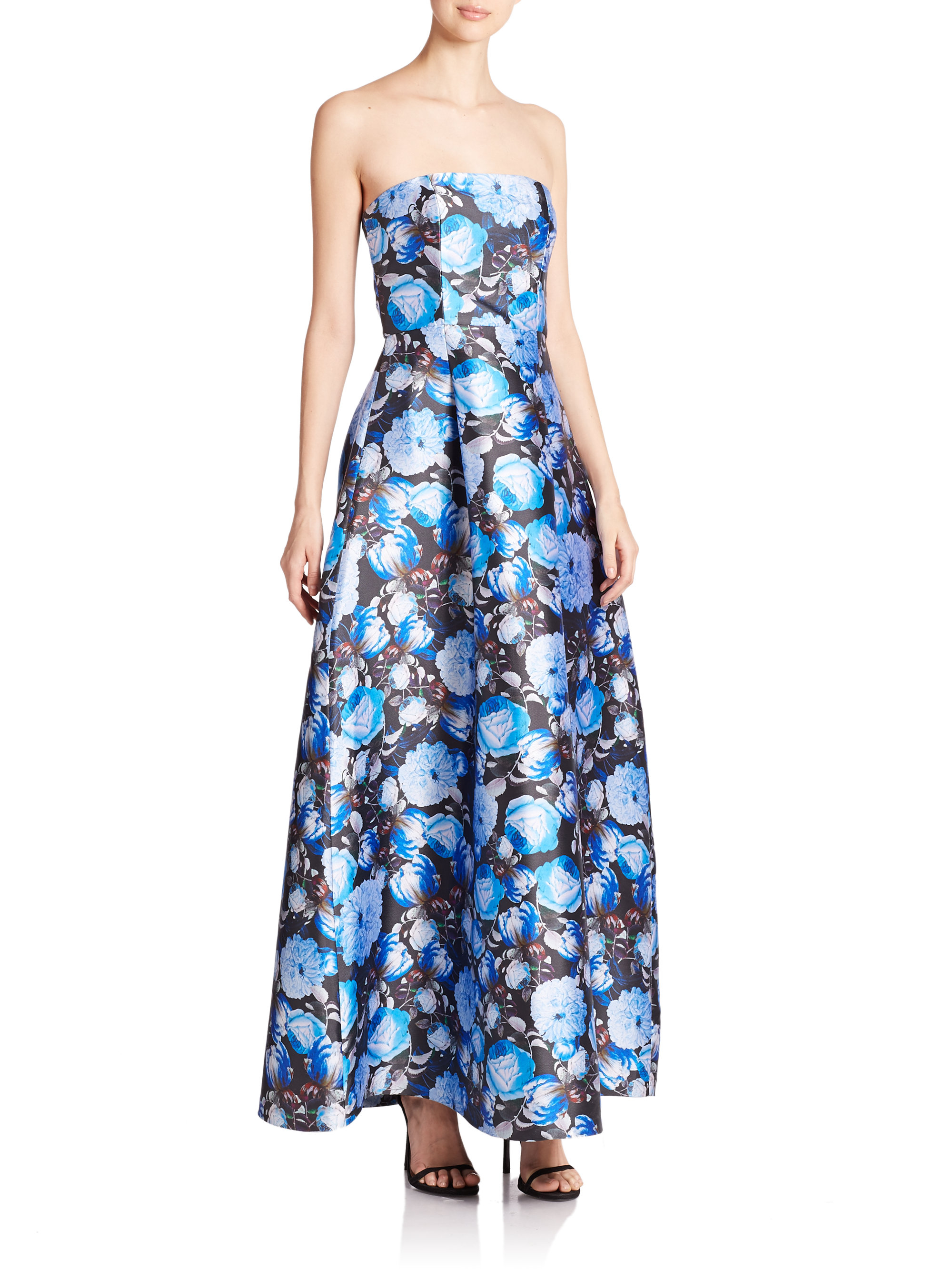 Lyst - Sachin & Babi Strapless Floral-print Ball Gown in Blue