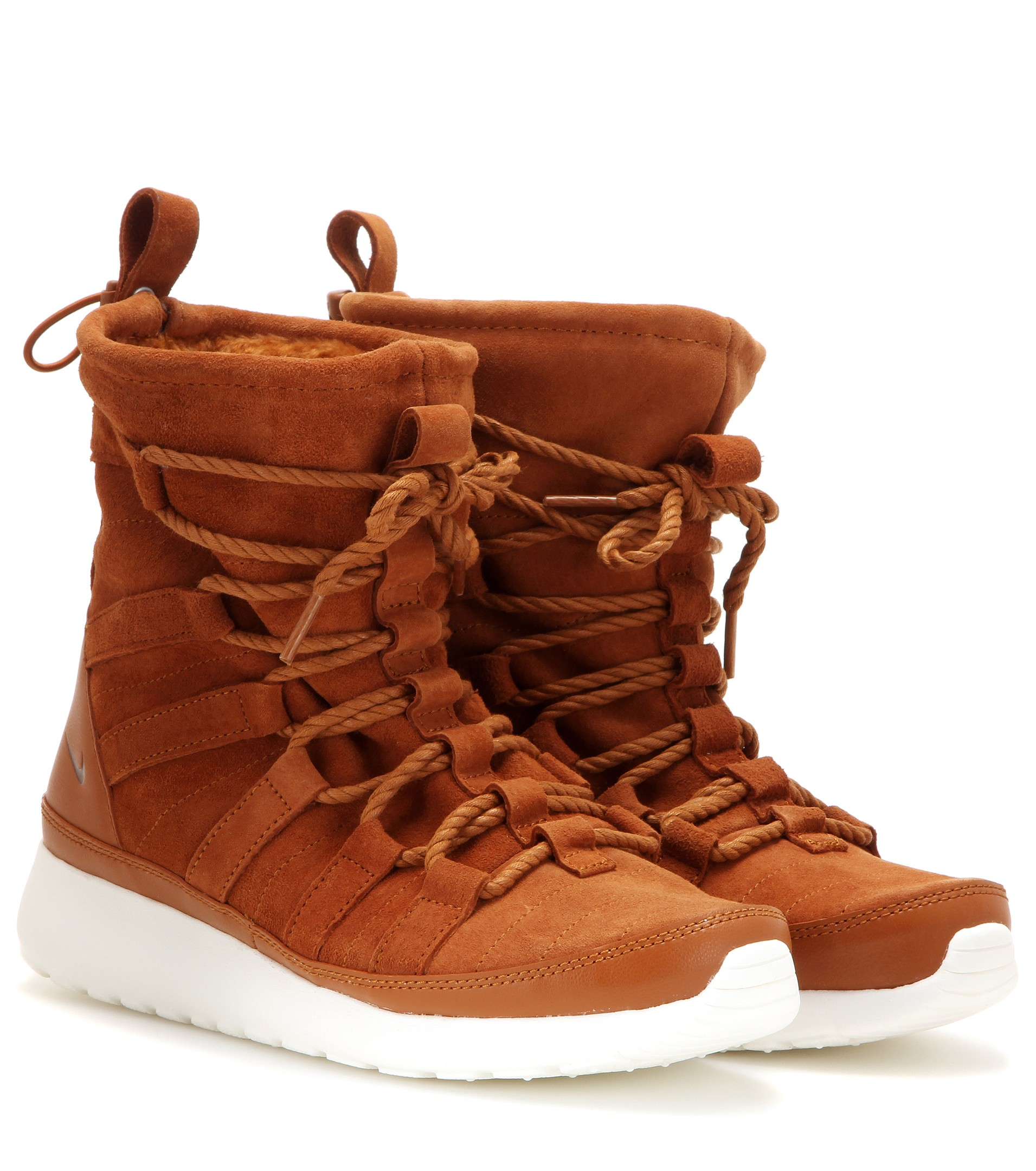 check out 5c291 78a77 ... norway nike roshe one hi suede sneaker boots in brown lyst 32d91 c3806