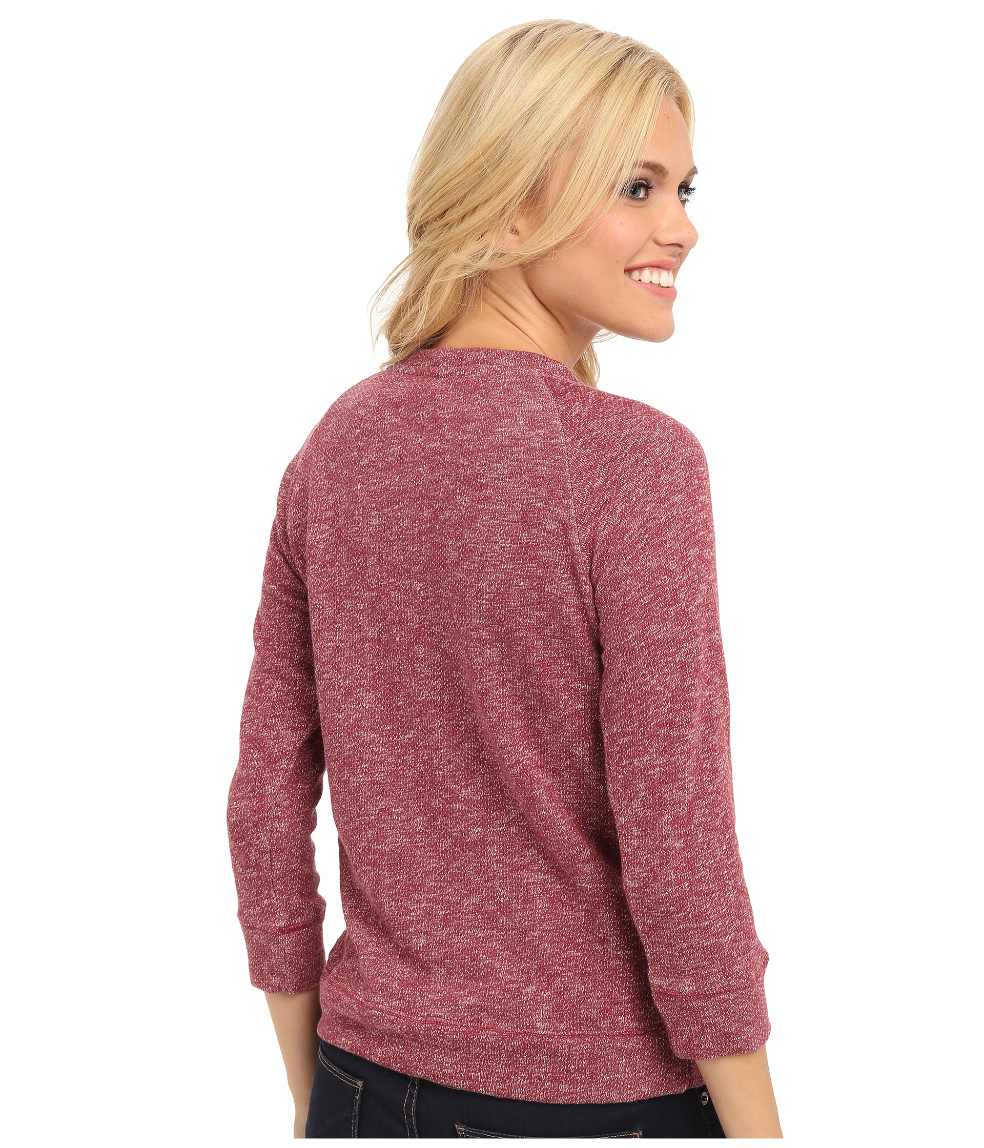 Lucky brand Sweater Front Pullover in Red | Lyst