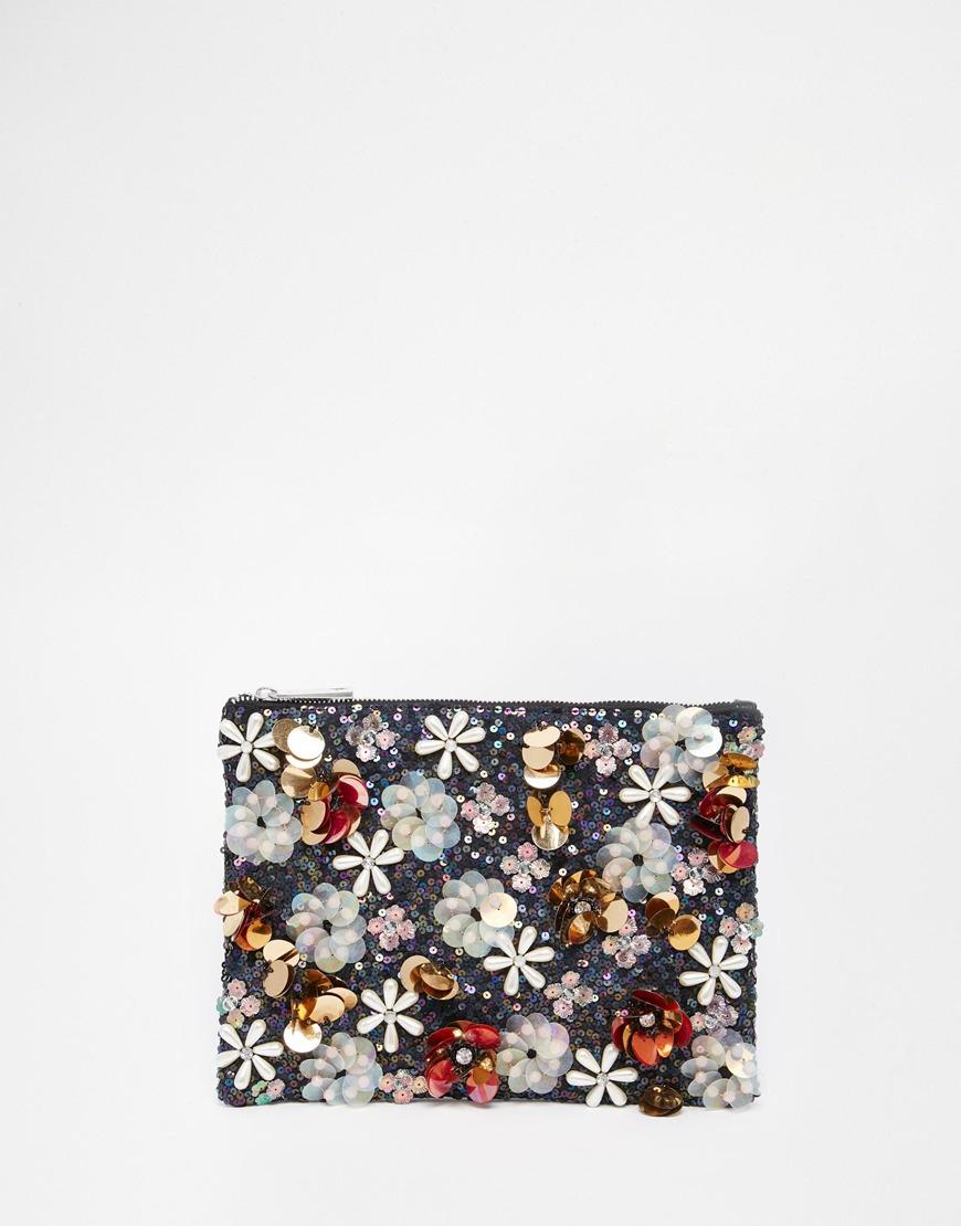 Asos Co-ord Flower Embellished Sequin Clutch Bag in Black (Multi ...