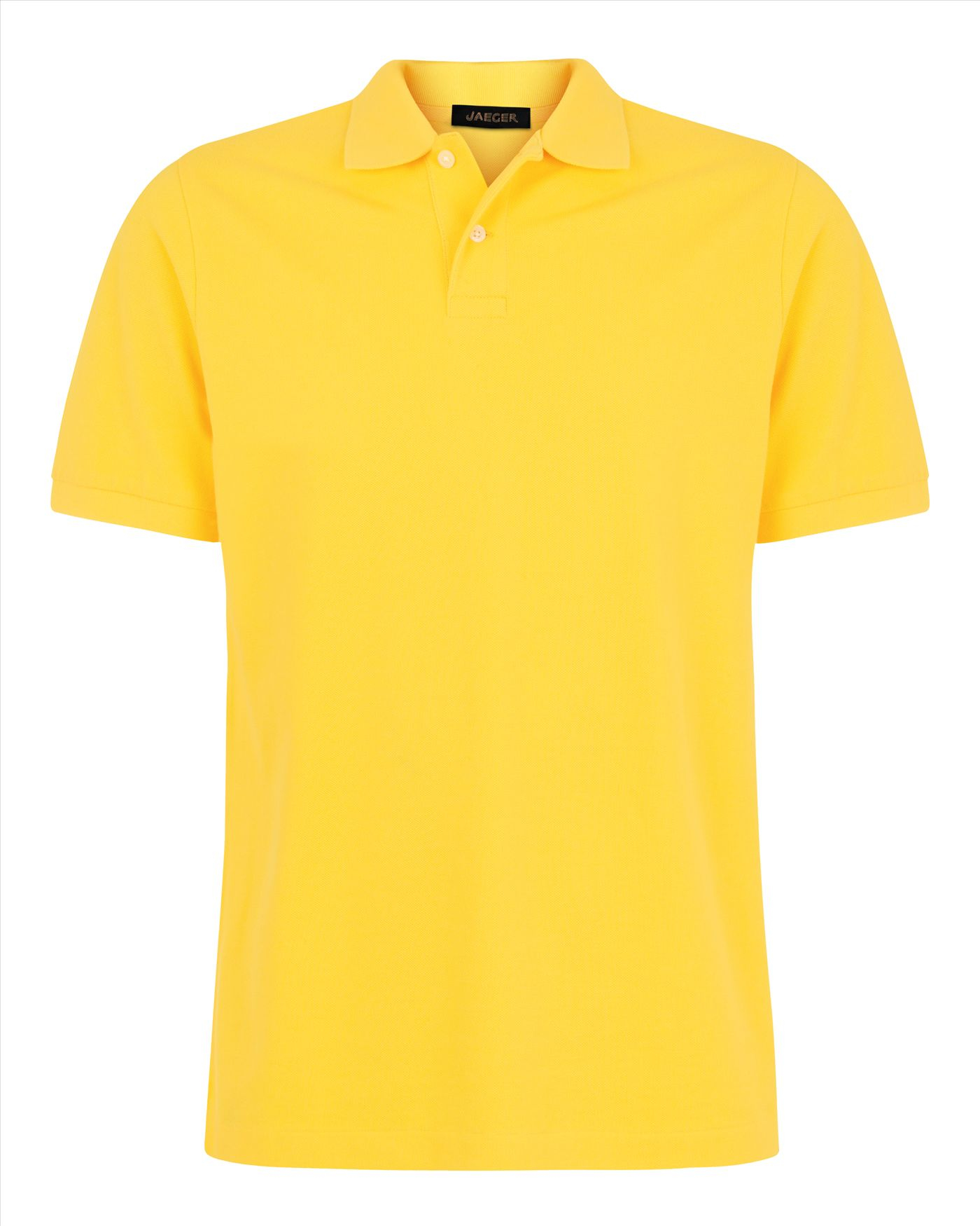 lyst jaeger plain pique polo shirt in yellow for men