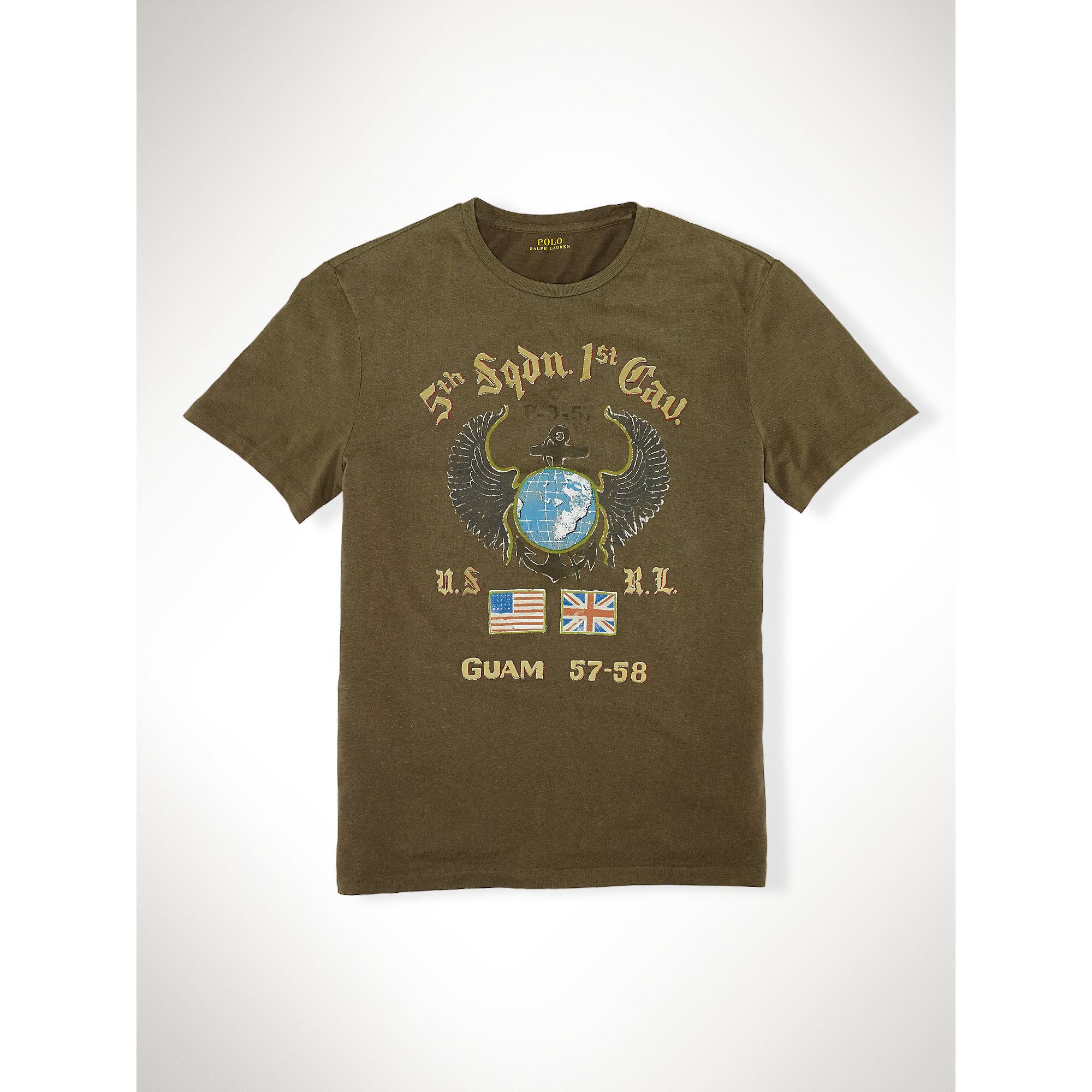 fb96f3d6978b8 Lyst - Polo Ralph Lauren Custom-fit Eagle Wing T-shirt in Green for Men