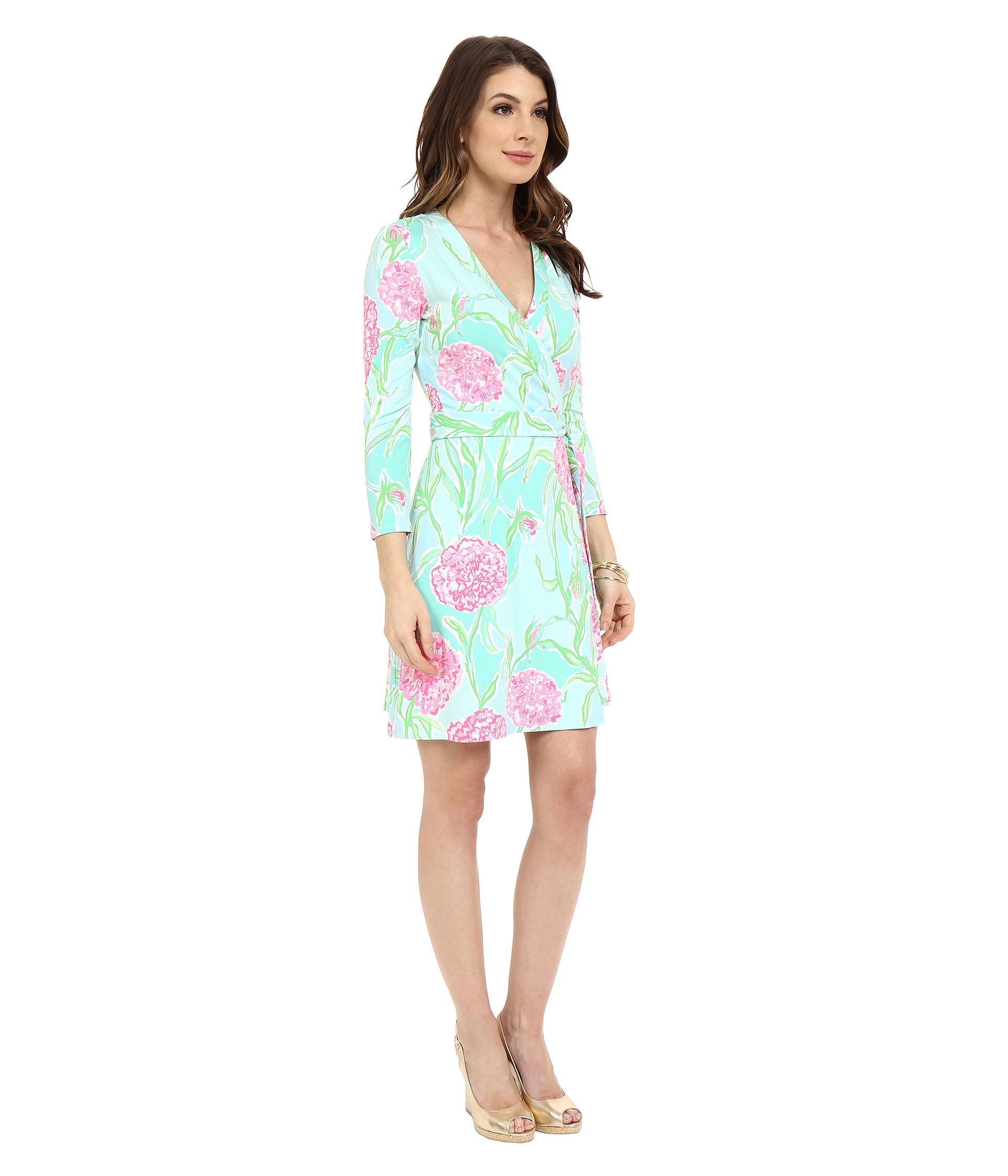 ebd14430103abb Lilly Pulitzer Meridan Wrap Dress in Blue - Lyst