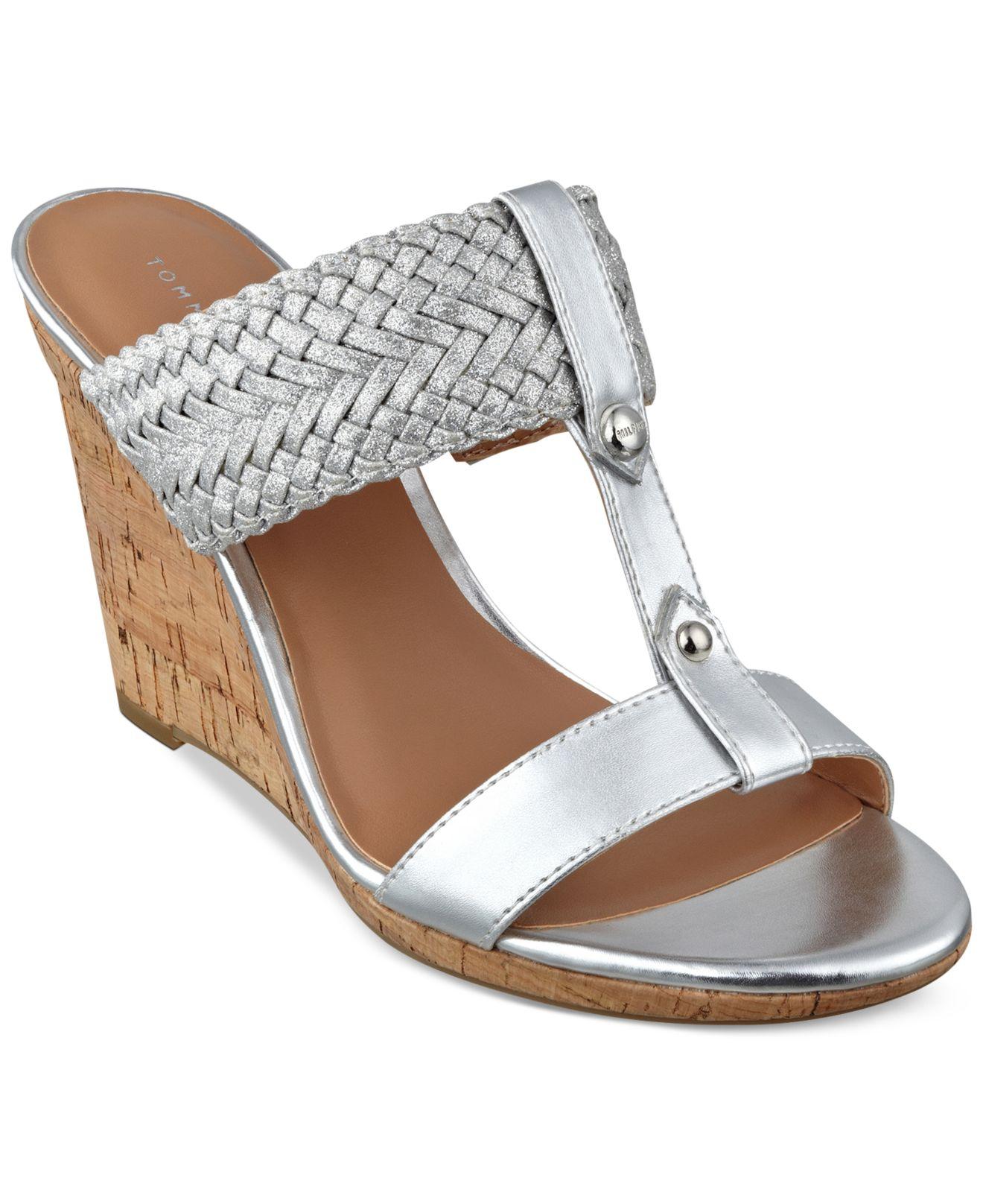 tommy hilfiger women 39 s eleona wedge sandals in metallic lyst. Black Bedroom Furniture Sets. Home Design Ideas