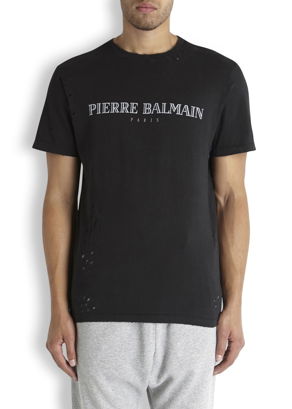 balmain black distressed cotton t shirt in black for men lyst. Black Bedroom Furniture Sets. Home Design Ideas