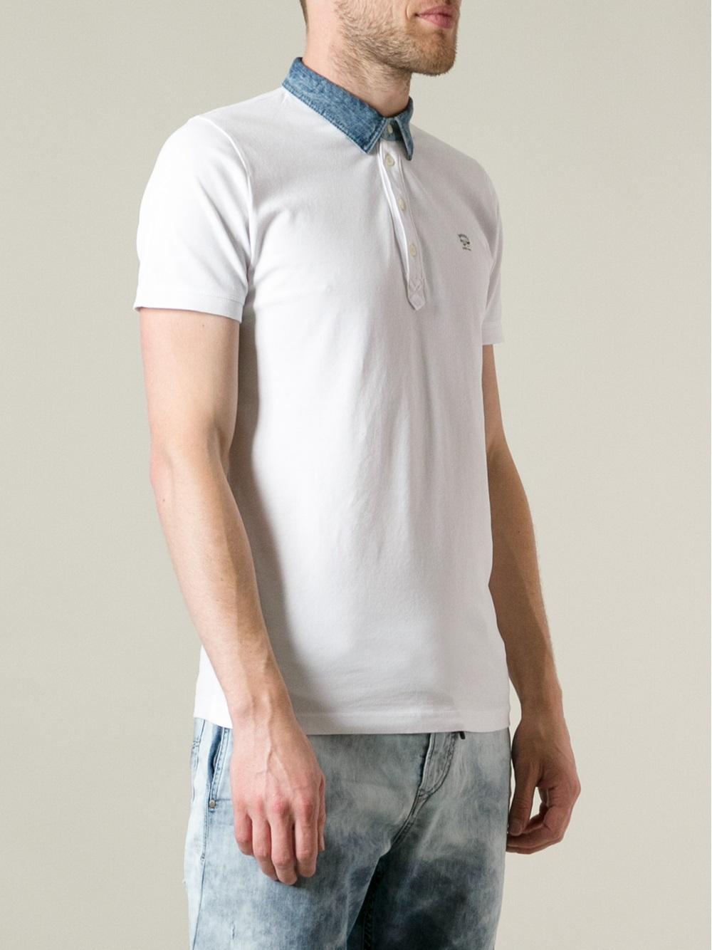 Diesel Denim Collar Polo Shirt In White For Men Lyst