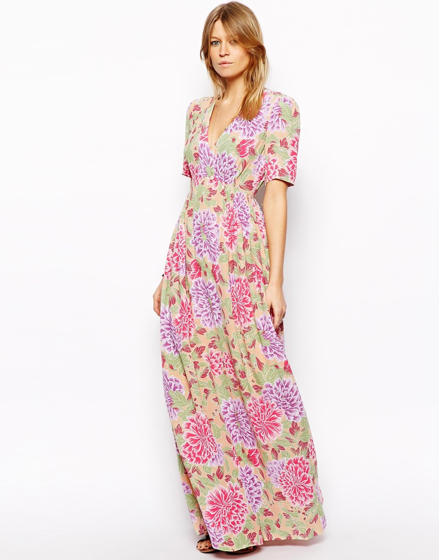 fc837b6b7f3 ASOS Maxi Tea Dress In Pastel Floral Print in Pink - Lyst