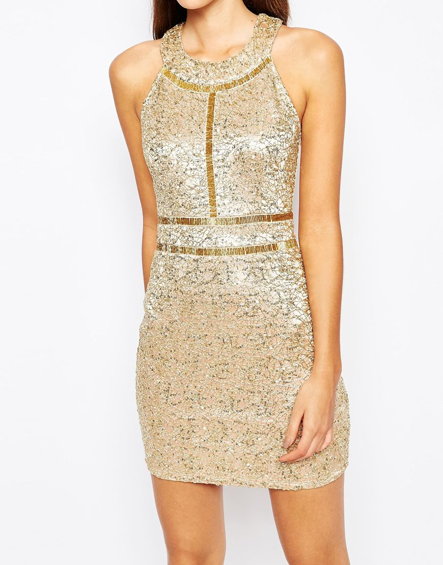 Wow Couture Premium Metallic Sequin Mini Dress With Gold