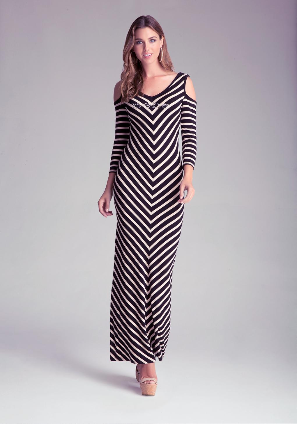 Lyst - Bebe Cold Shoulder Chevron Dress In Black