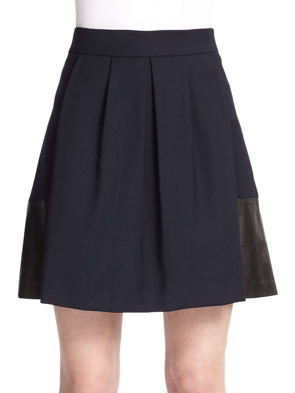 vince leather paneled stretch wool skirt in blue lyst