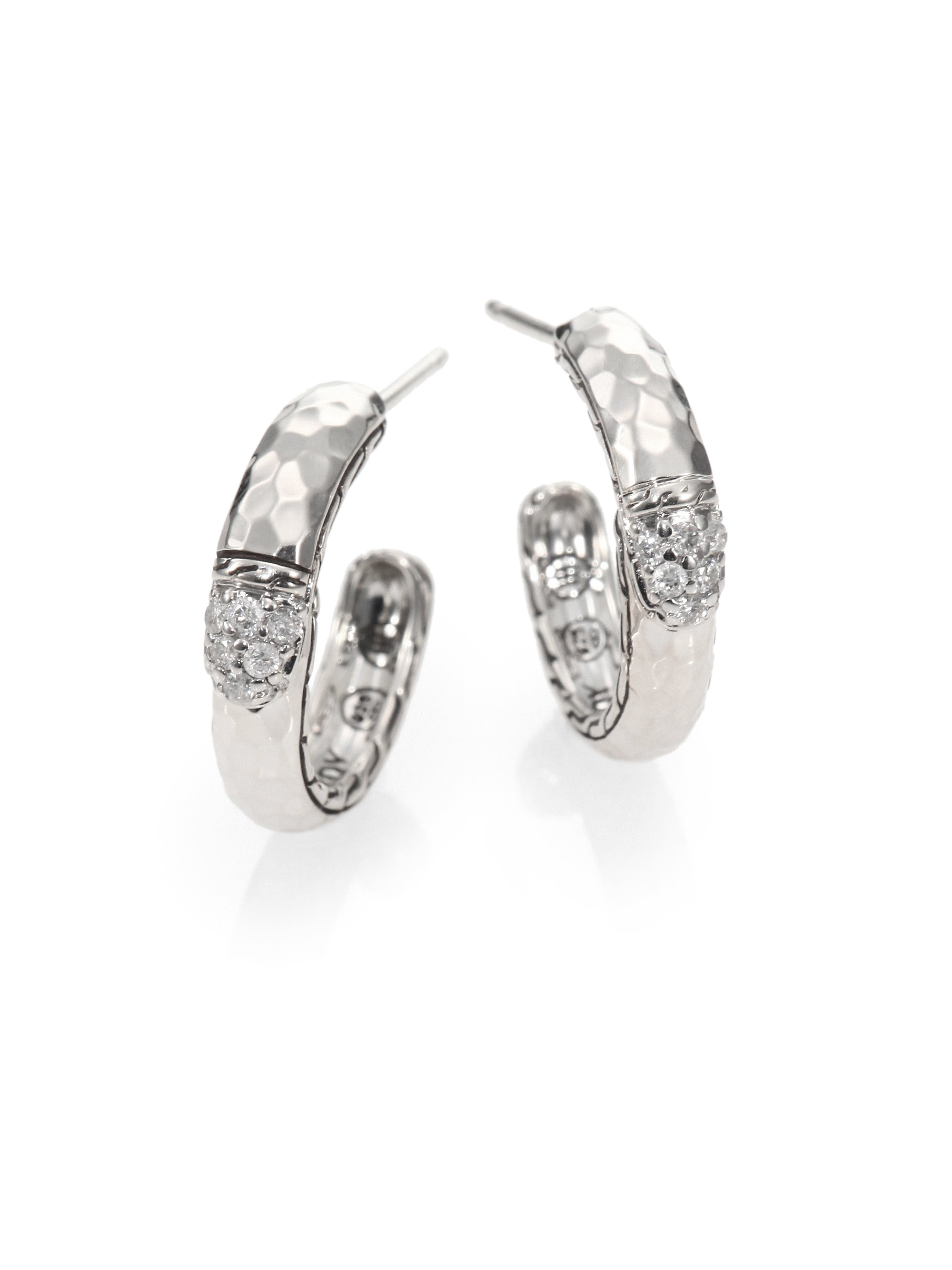 John Hardy Hammered Small Hoop Earring With Diamonds White diamond bUNoVf