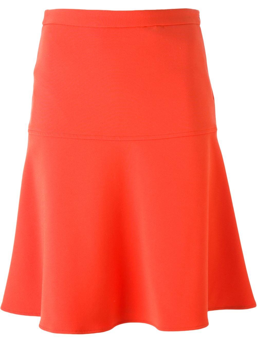 Michael michael kors Flared A-line Skirt in Orange | Lyst