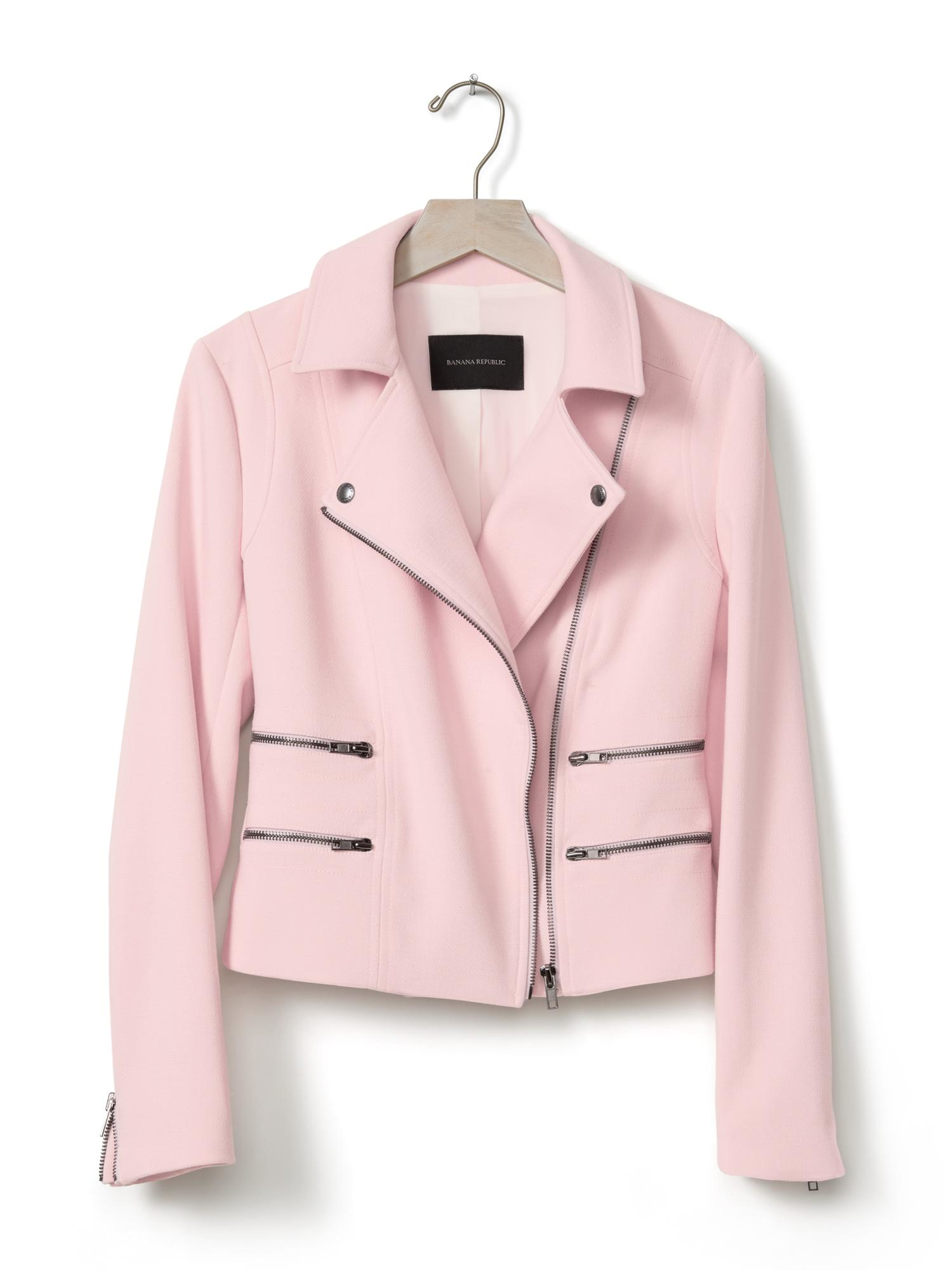 Banana Republic Multi Zip Moto Jacket In Pink Pink Blush