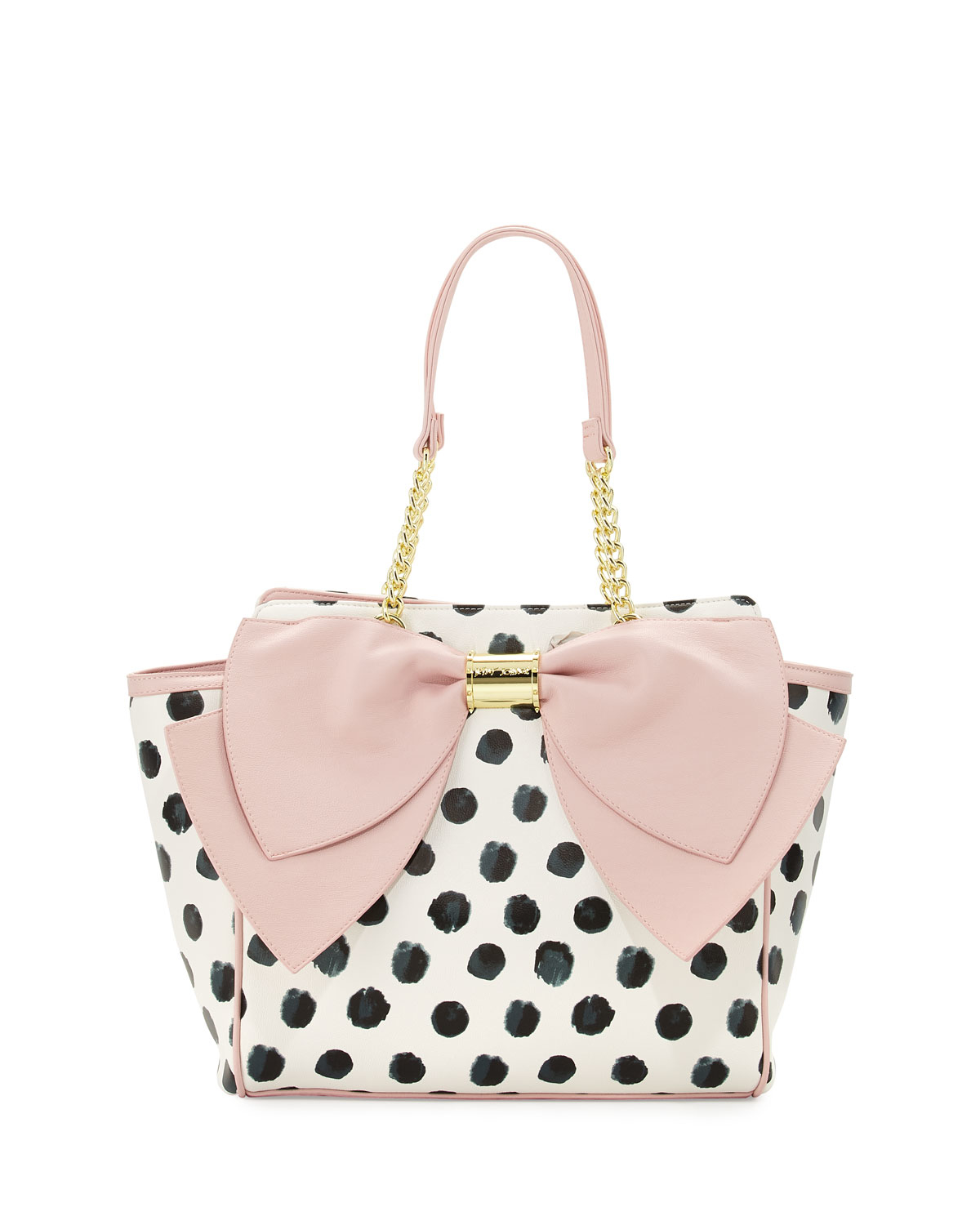 Lyst - Betsey Johnson Signature Bow Polka-dot Tote Bag in ...