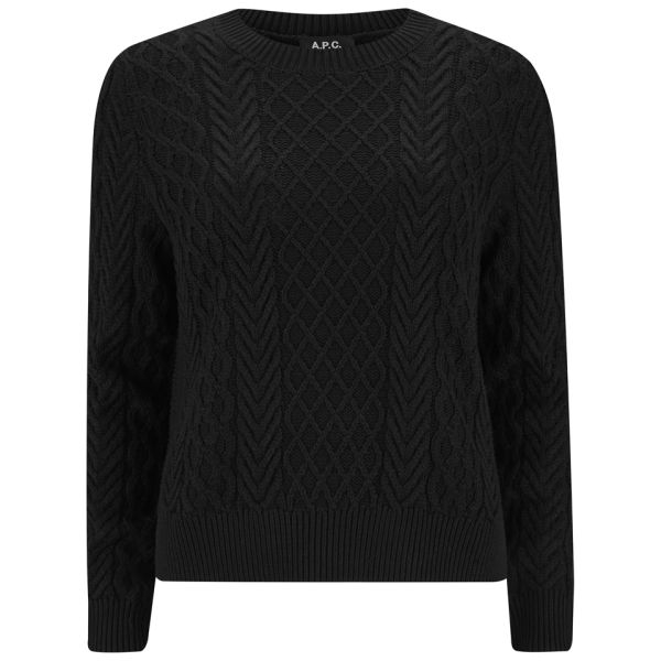 A.P.C. Women S Silk Cotton Mix Cable Knit Jumper in Black - Lyst 0c5b1f633