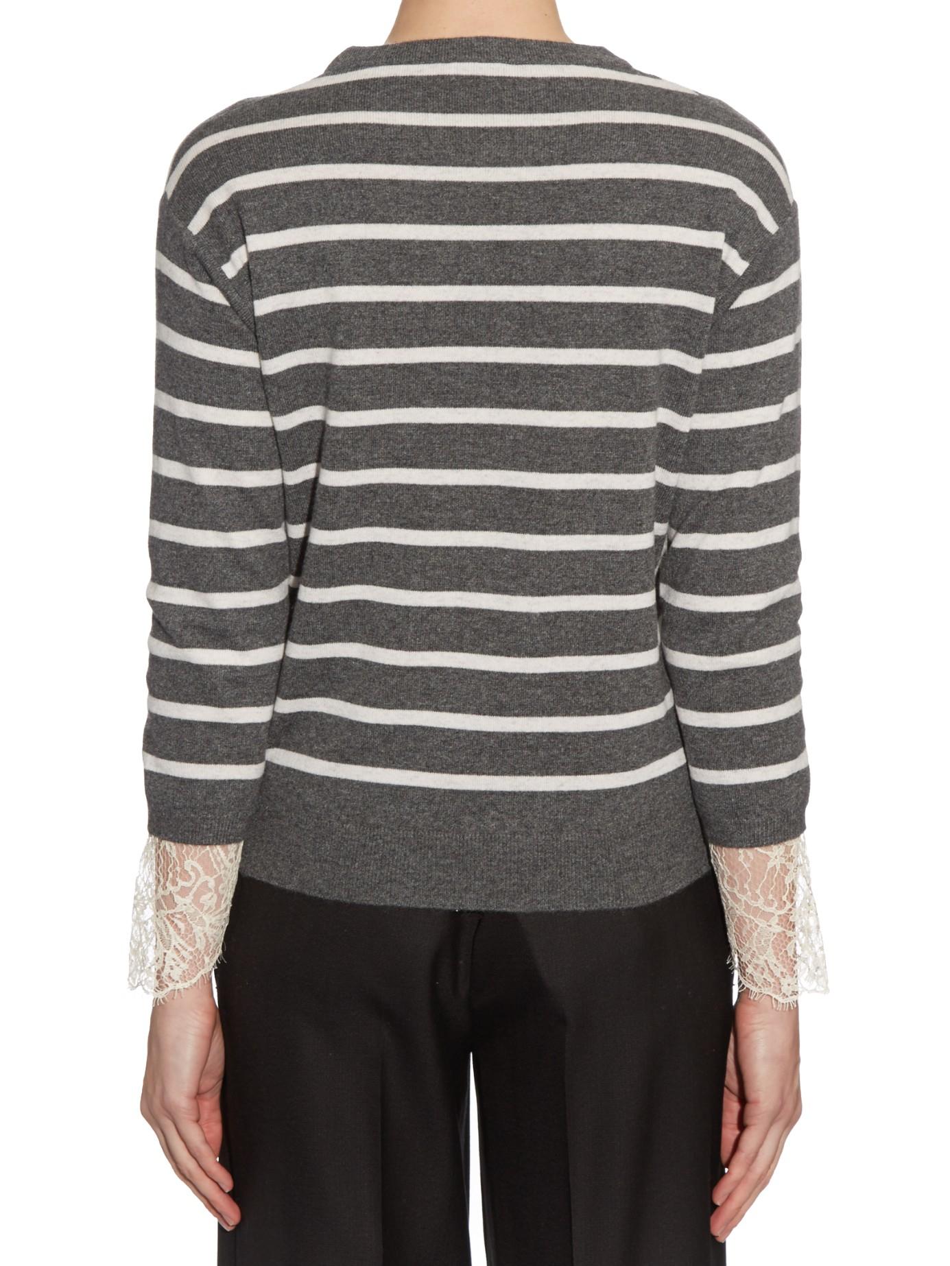 db059313e9 Lyst - Brunello Cucinelli Lace-cuff Striped Cashmere Sweater in Gray