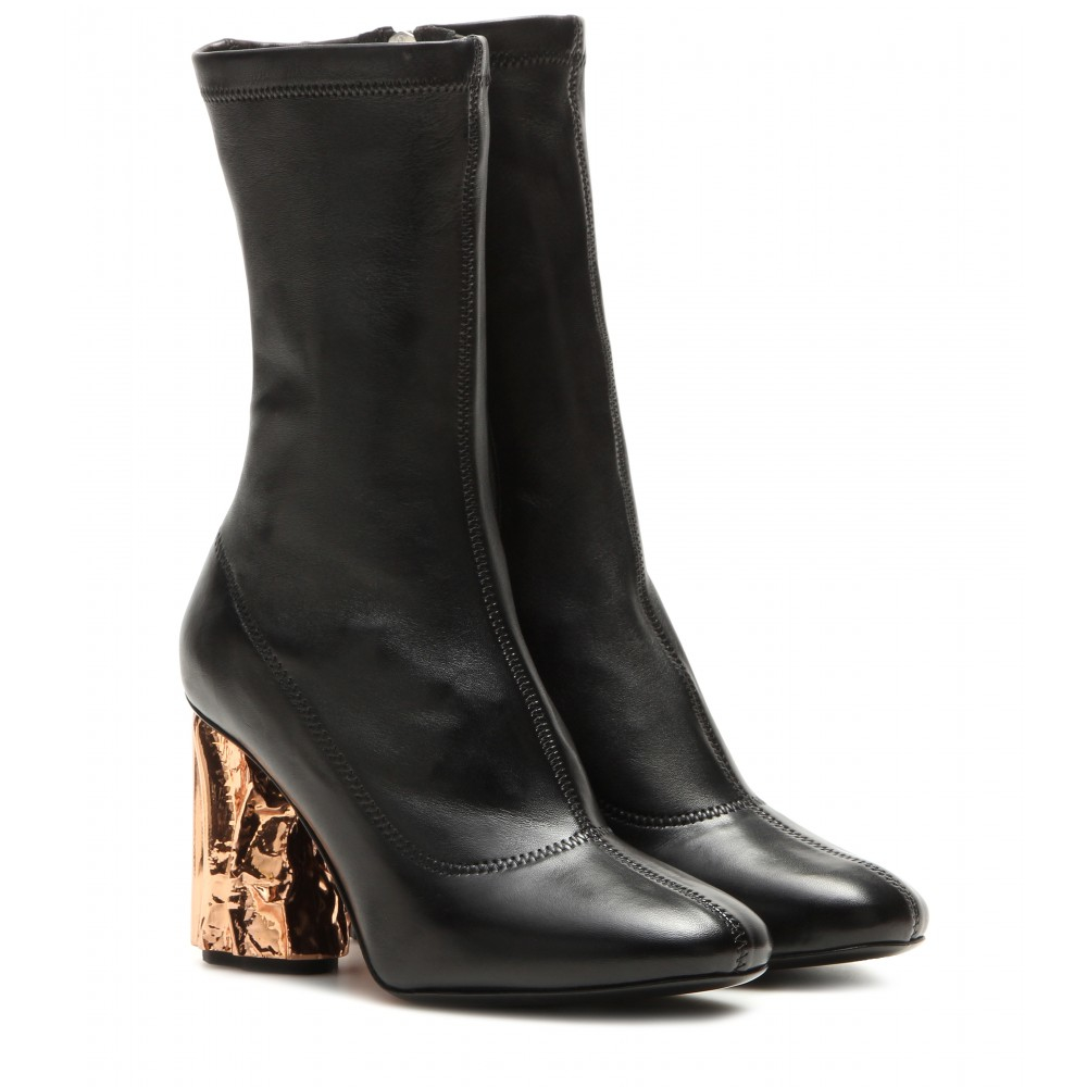 acne studios odessa leather sculpted heel boots in black. Black Bedroom Furniture Sets. Home Design Ideas