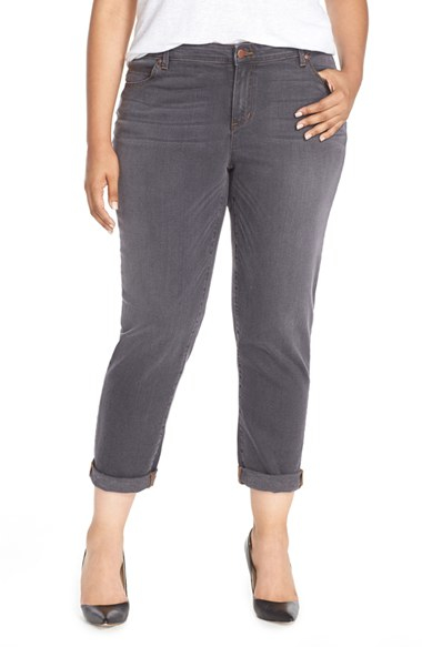 Eileen fisher Stretch Denim Boyfriend Jeans in Gray | Lyst