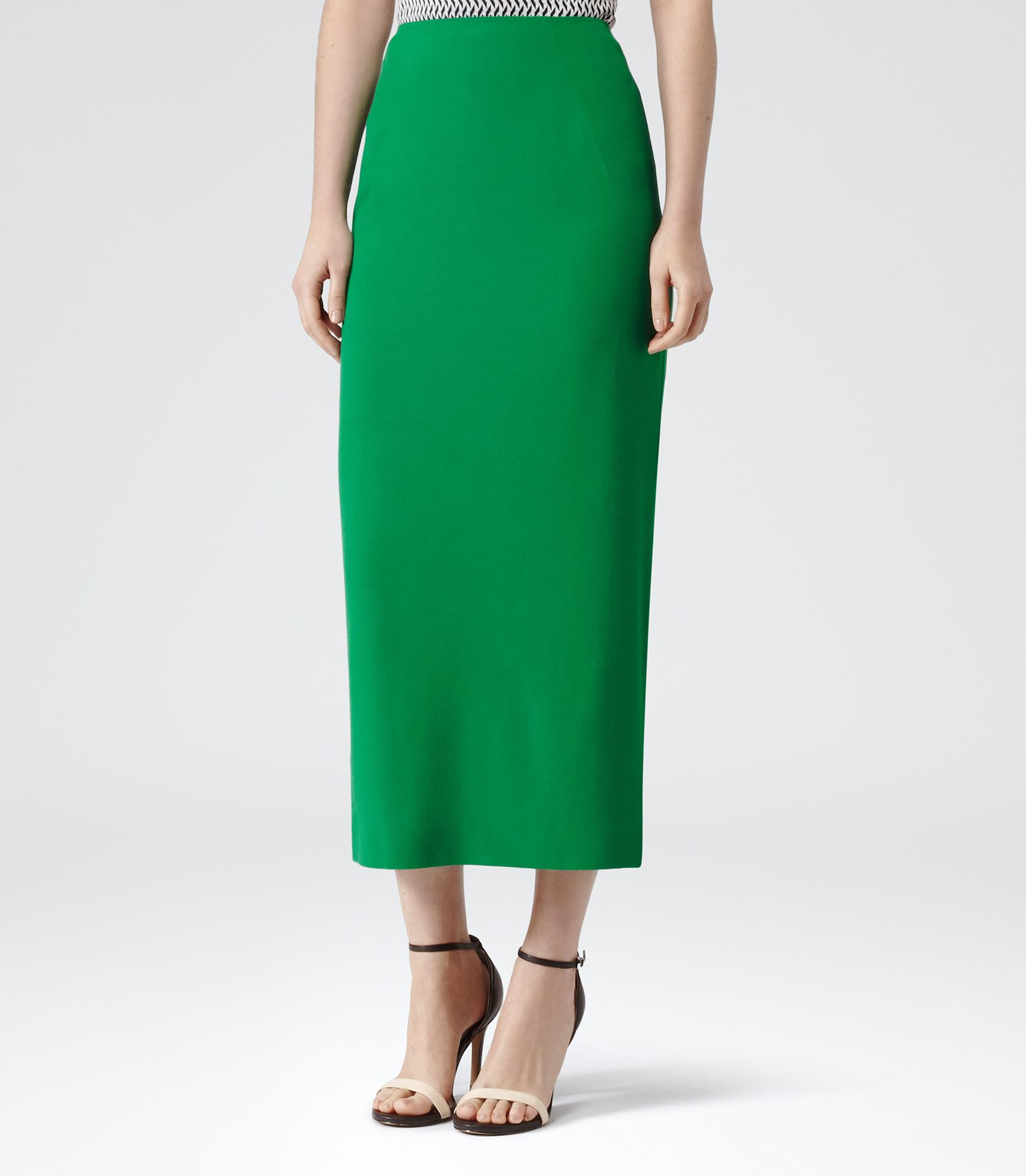 Reiss Bryant Straight Midi Skirt in Green | Lyst