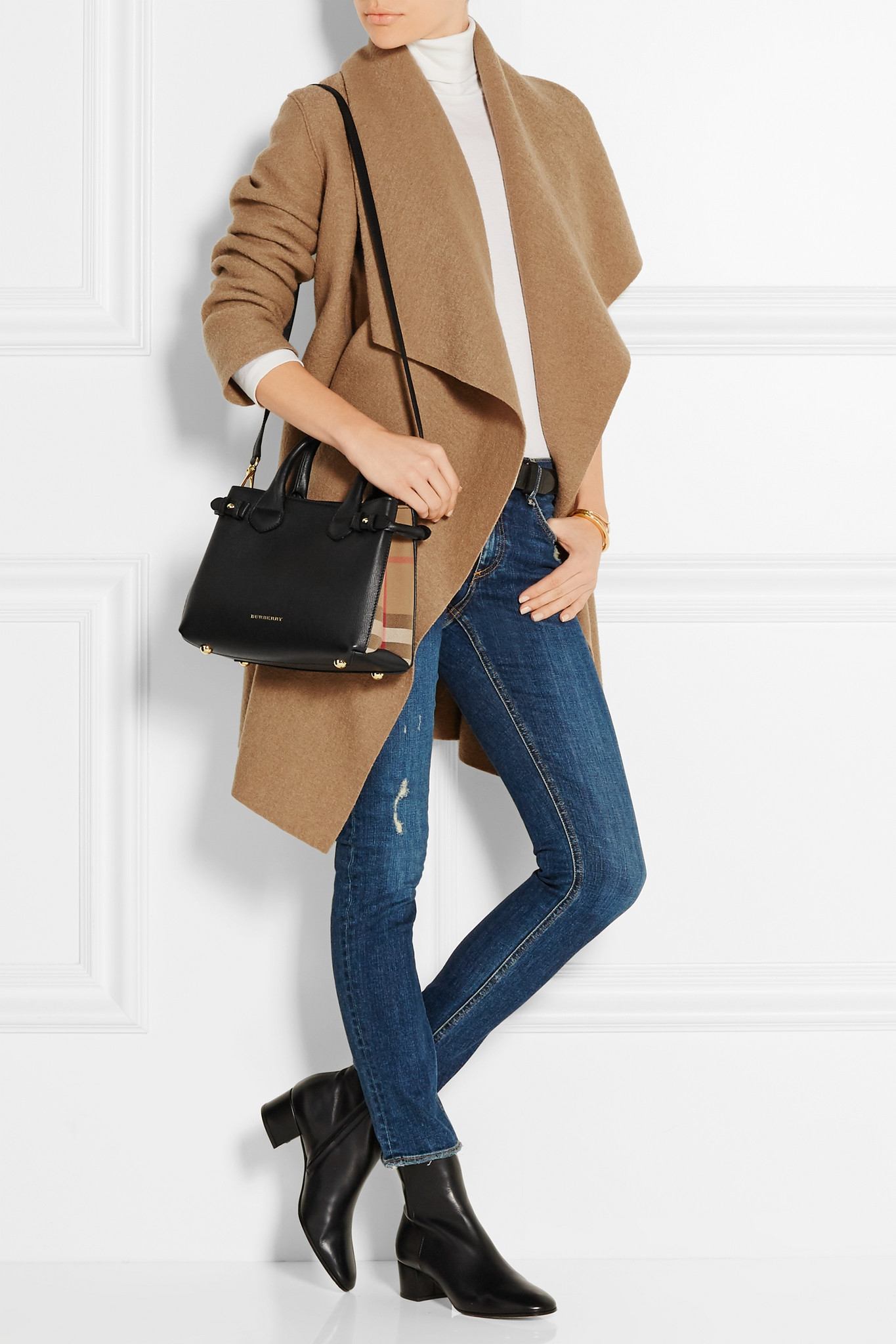 Lyst - Burberry London Small Checked Canvas-paneled Textured-leather ... a6050b54c4