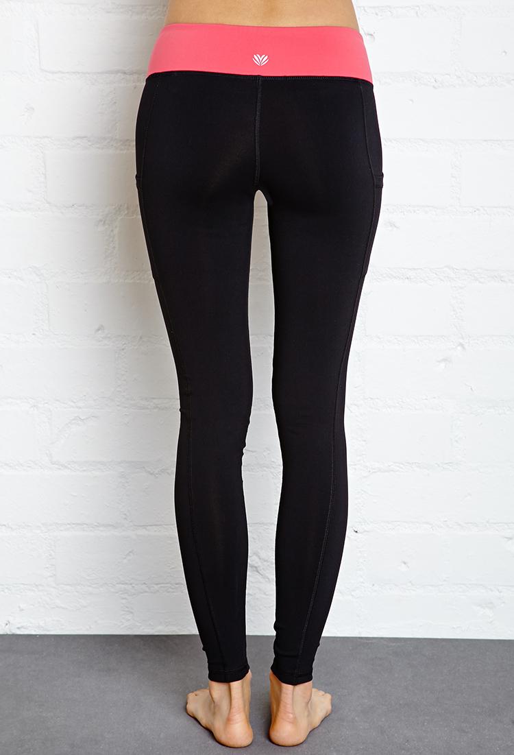Forever 21 Side-pocket Skinny Workout Leggings in Black | Lyst