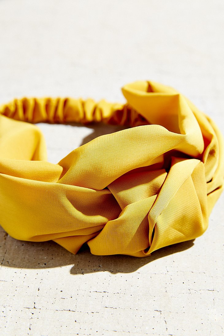 Lyst - Urban Outfitters Sienna Knotted Silk Headwrap in Yellow 3b4373315b1