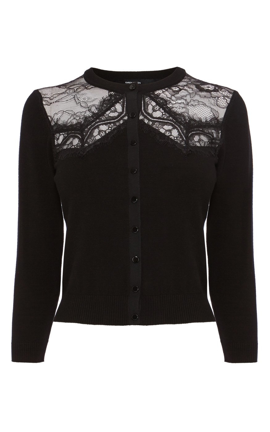 Karen millen Lace Panel Cardigan in Black | Lyst