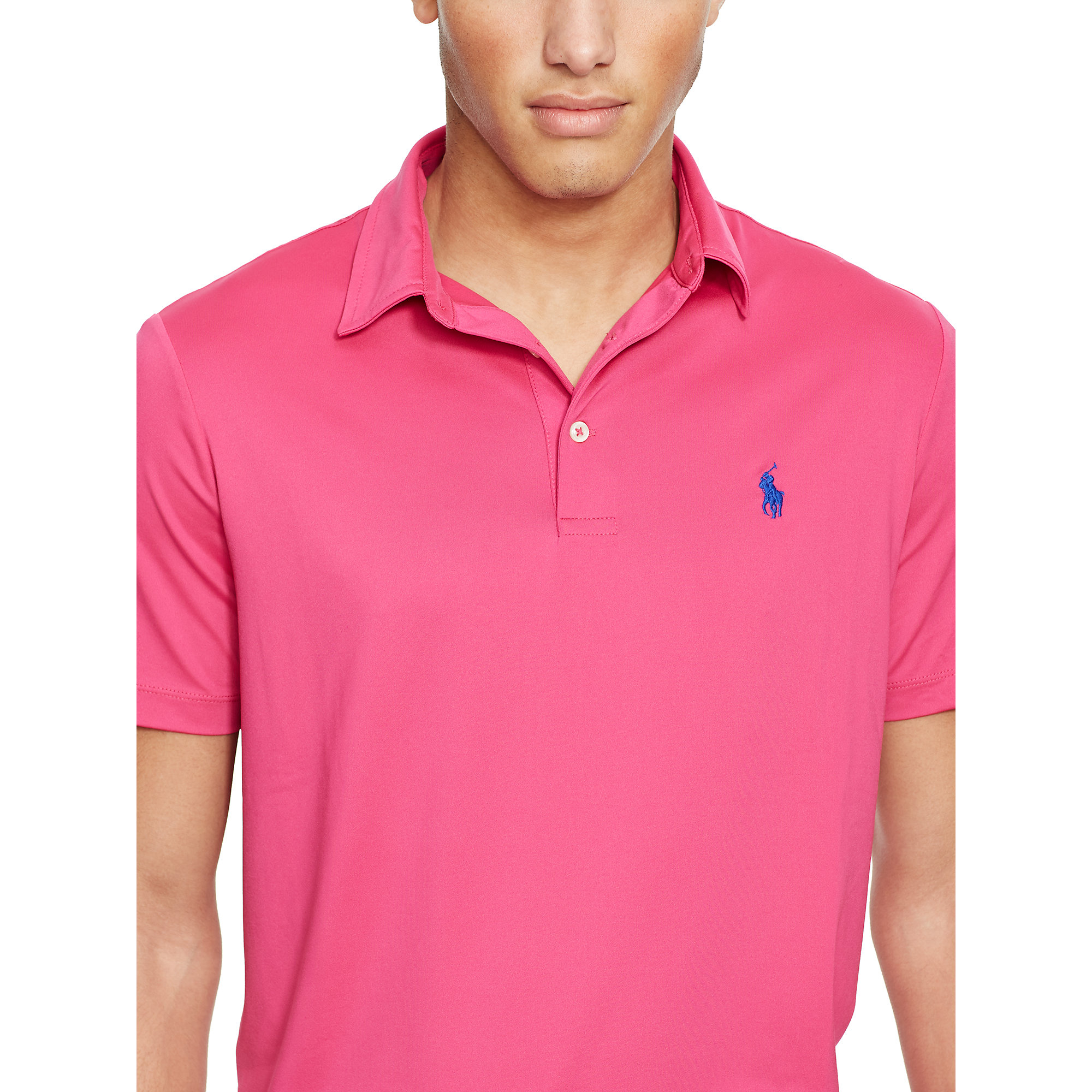 f77ed0ab9 Polo Ralph Lauren Custom-fit Performance Polo in Pink for Men - Lyst