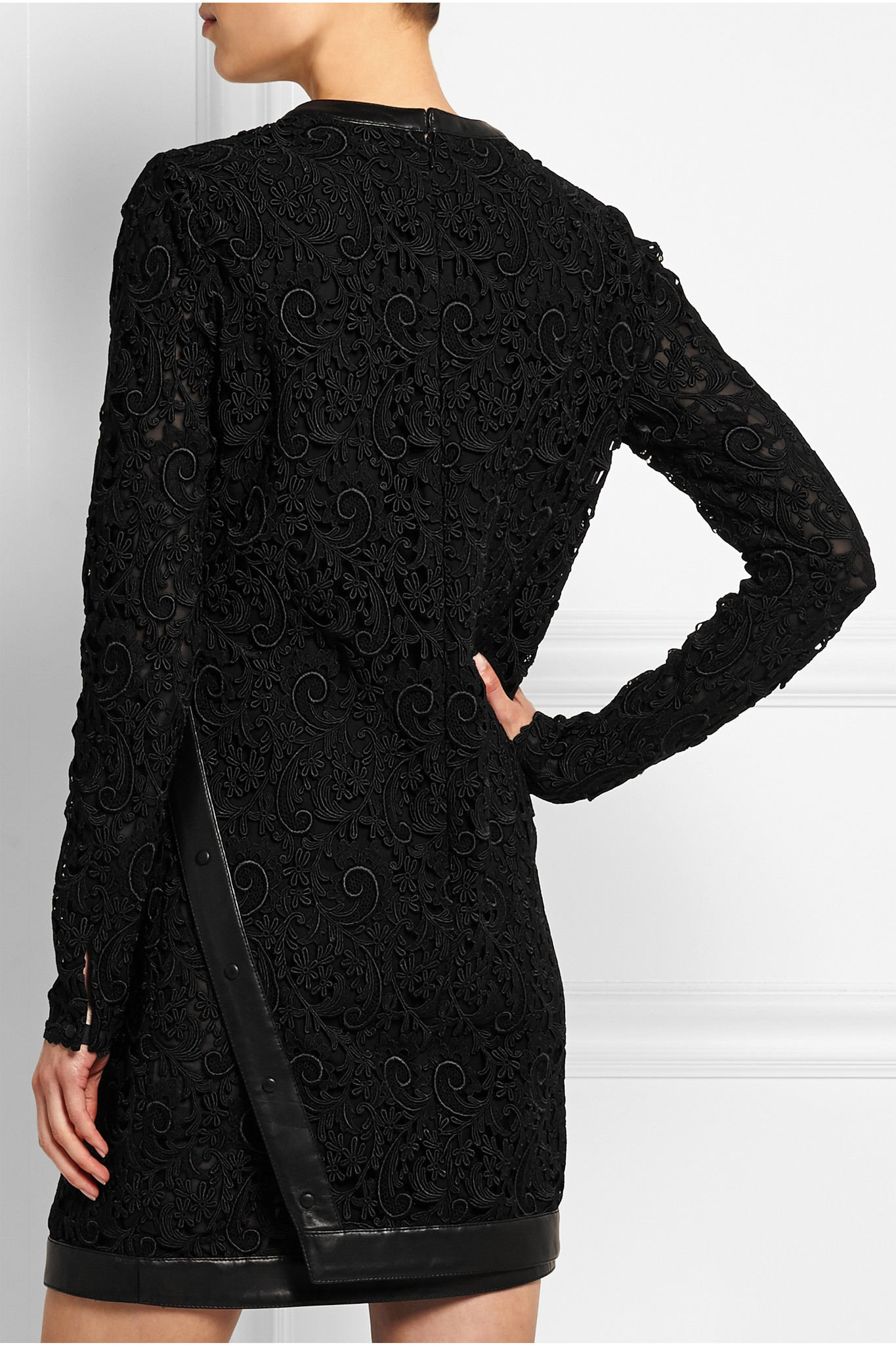 tom ford leather trimmed guipure lace mini dress in black. Black Bedroom Furniture Sets. Home Design Ideas