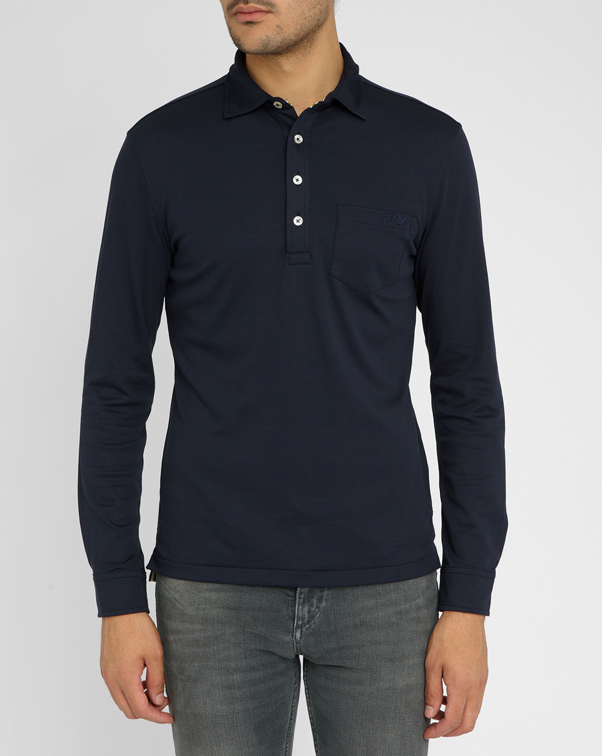 Armani jeans navy long sleeve patch pocket buttoned for Men s lightweight long sleeve polo shirts