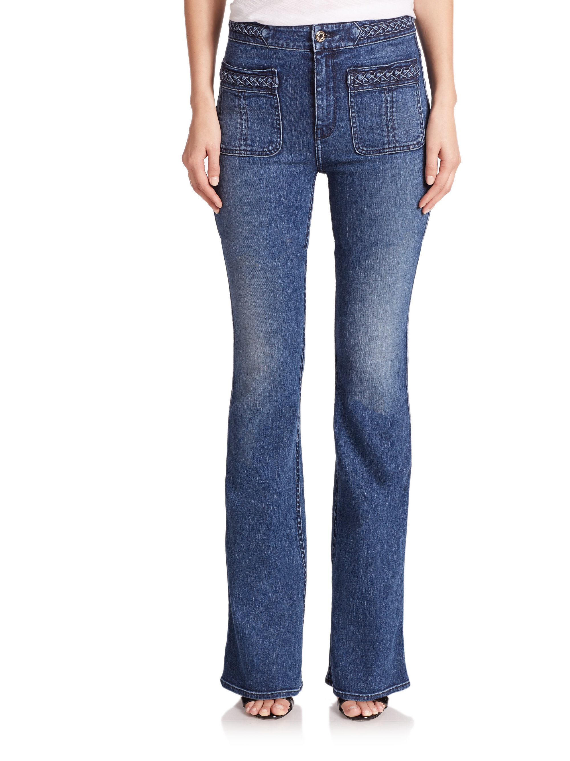 7 for all mankind braided flared jeans in blue lyst. Black Bedroom Furniture Sets. Home Design Ideas