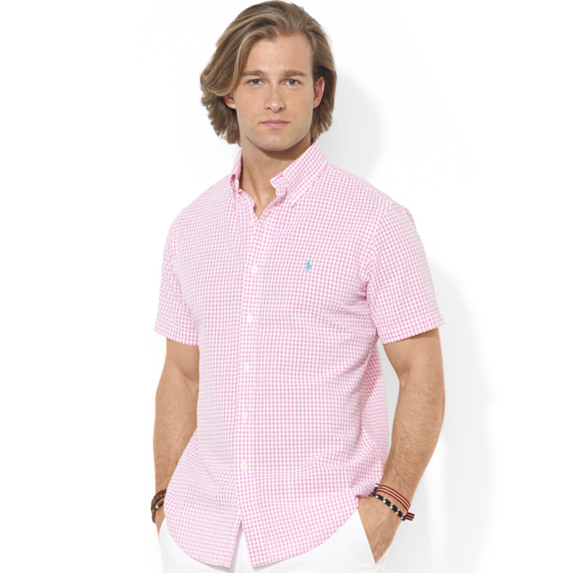 ... polo ralph lauren shirt short sleeve striped seersucker cotton shirt ...