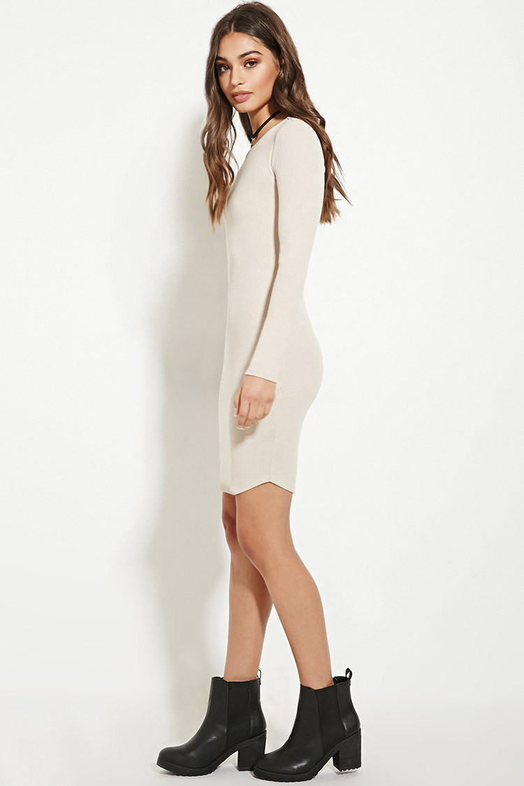 Forever 21 Ribbed Knit Bodycon Dress in Brown | Lyst - photo #39
