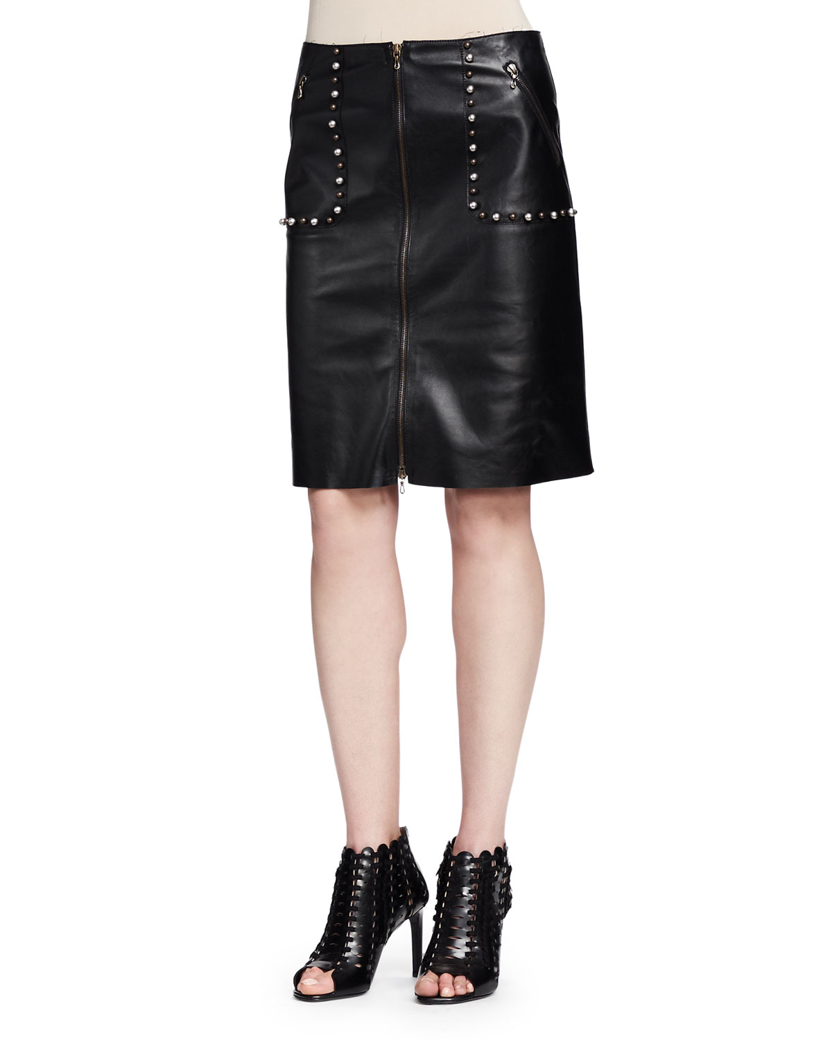 lanvin studded zip front leather skirt in black lyst