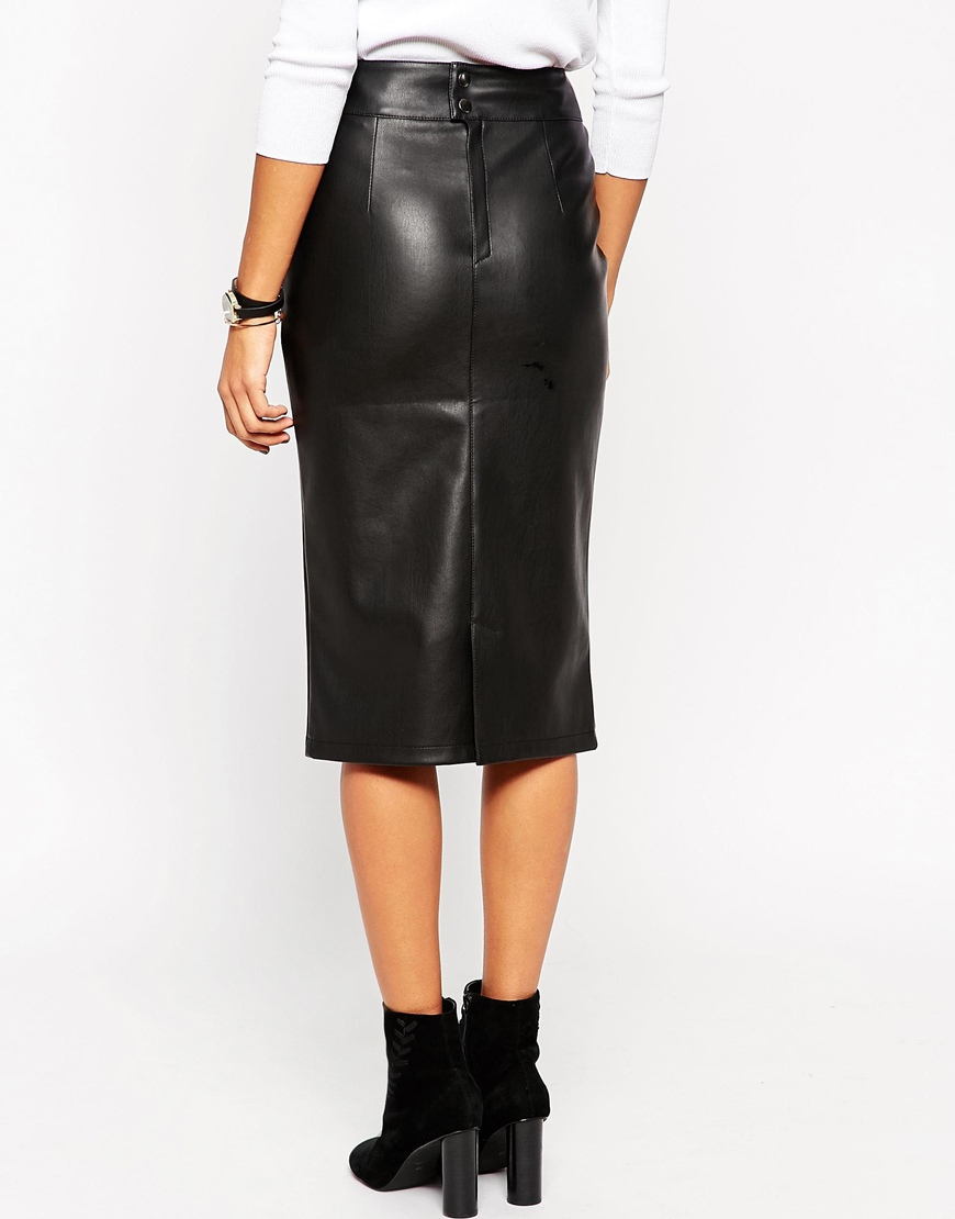 Asos Petite Pencil Skirt In Leather Look With 80s Waist Detail in ...