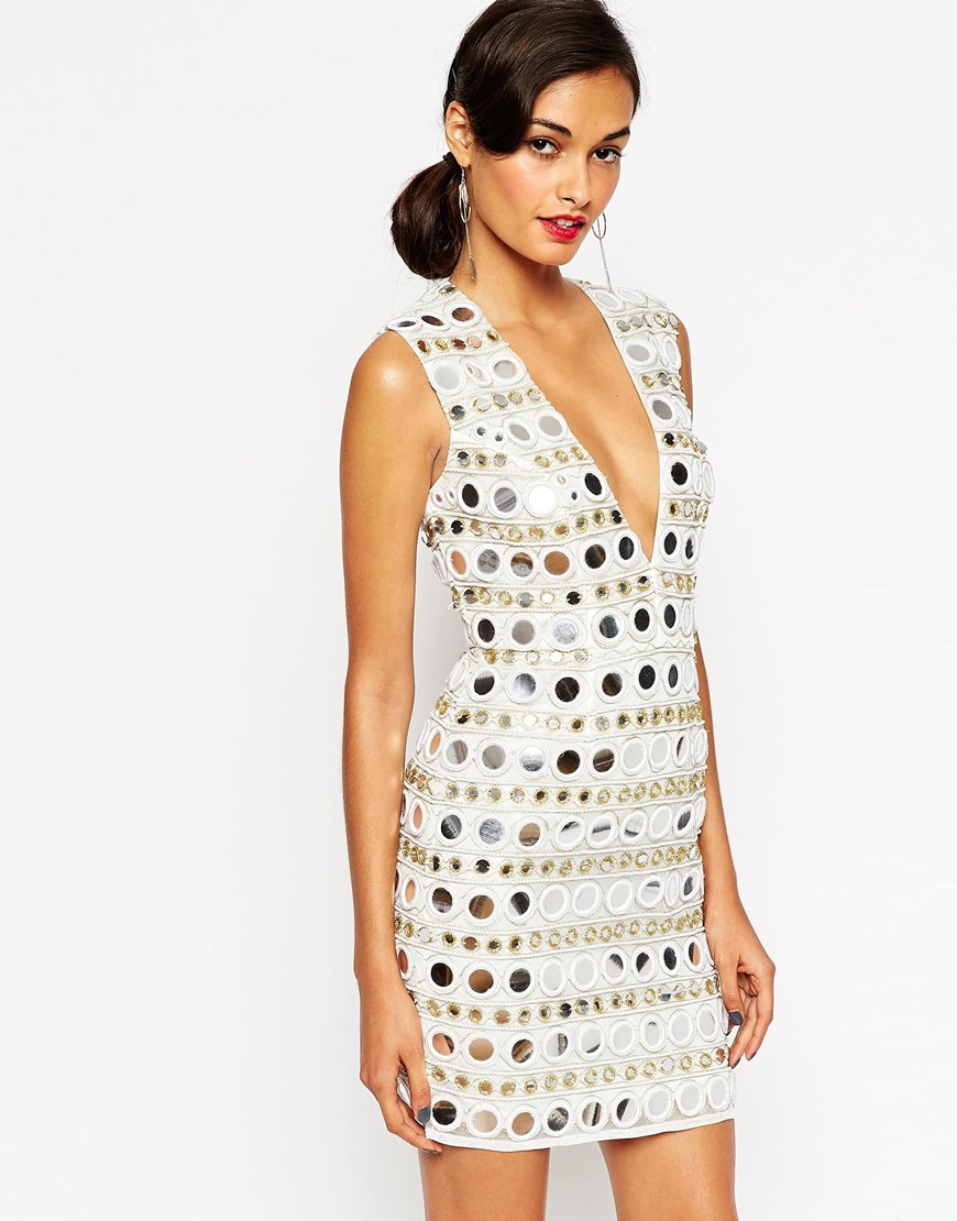 Asos Red Carpet Mirror Plunge Body Conscious Dress In