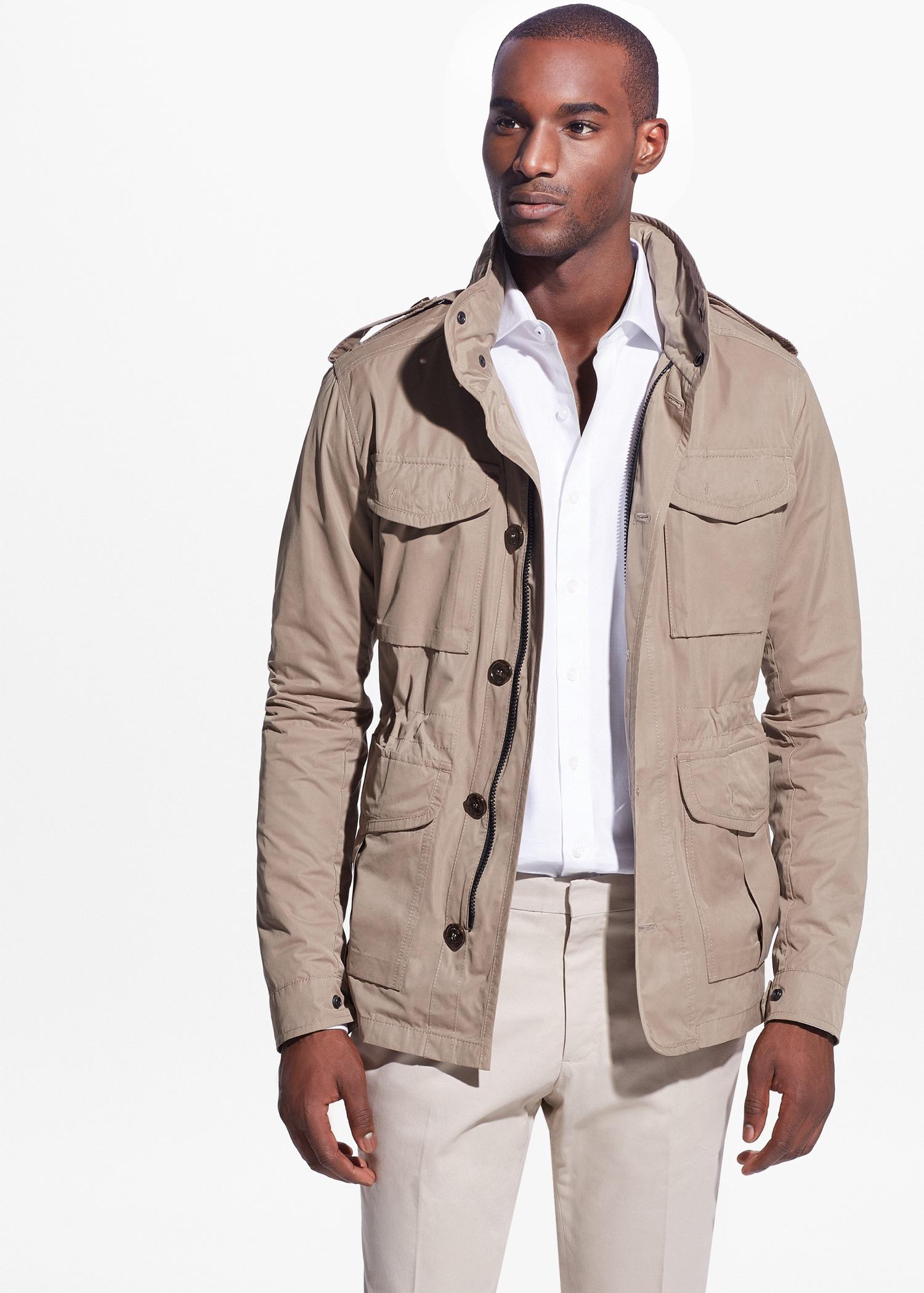 mango concealed hood field jacket in natural lyst. Black Bedroom Furniture Sets. Home Design Ideas