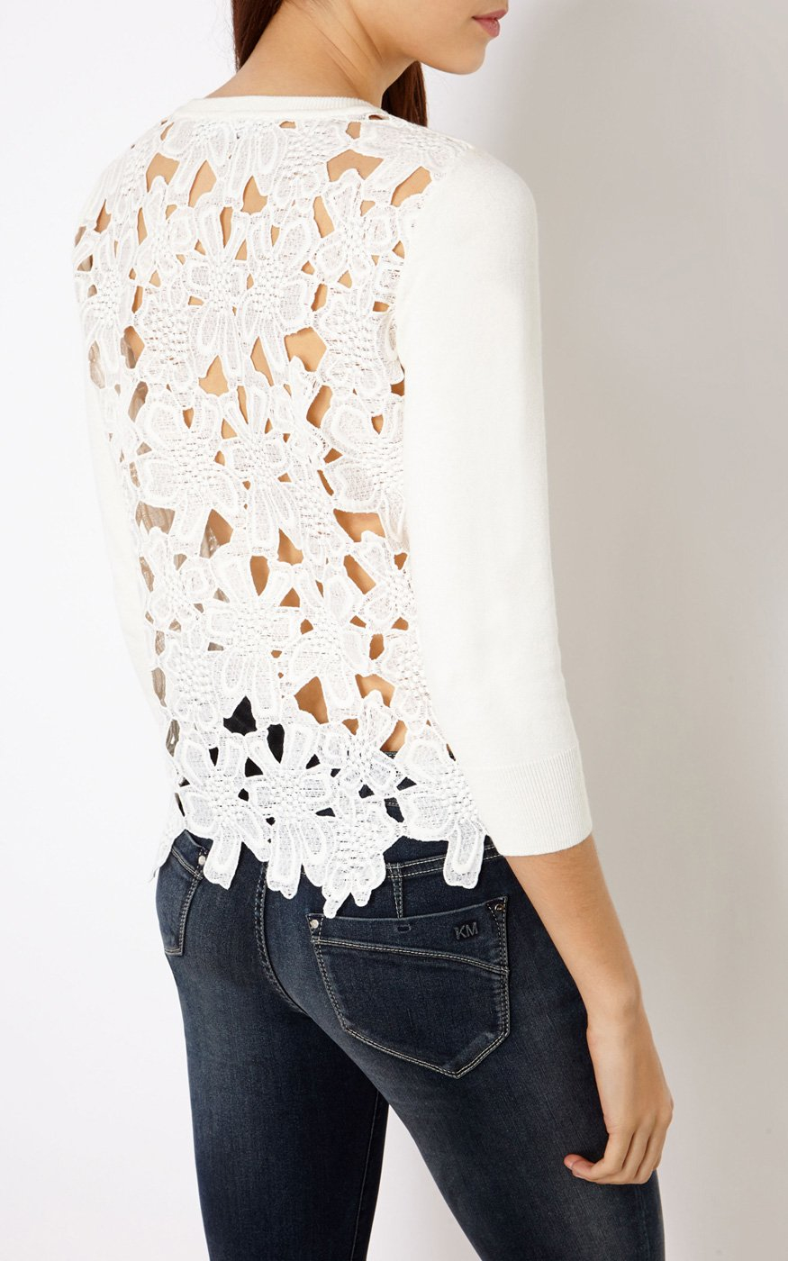 Karen millen Floral Lace Cardigan in White | Lyst