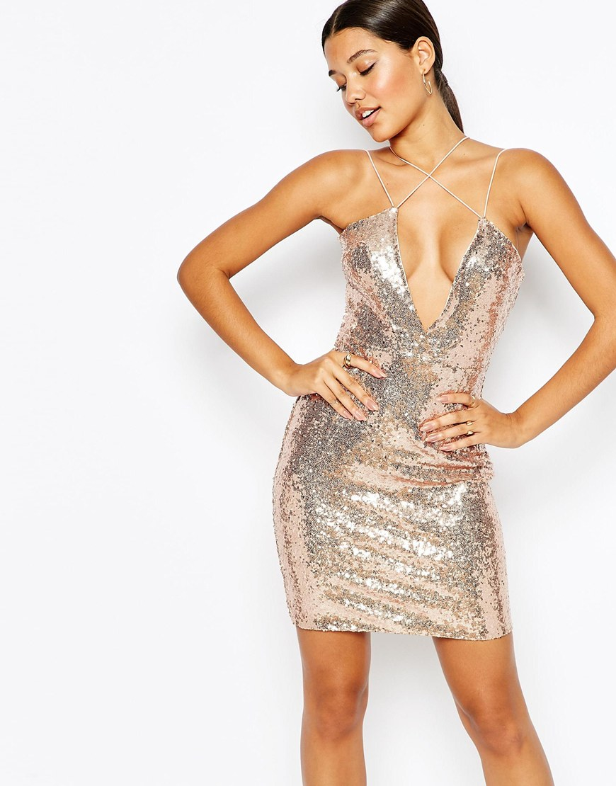 Club l Cross Front Allover Sequin Mini Dress in Metallic  Lyst