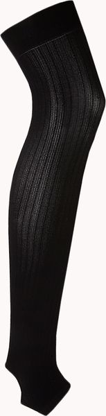 Forever 21 Ribbed Stirrup Knee High Socks in Black