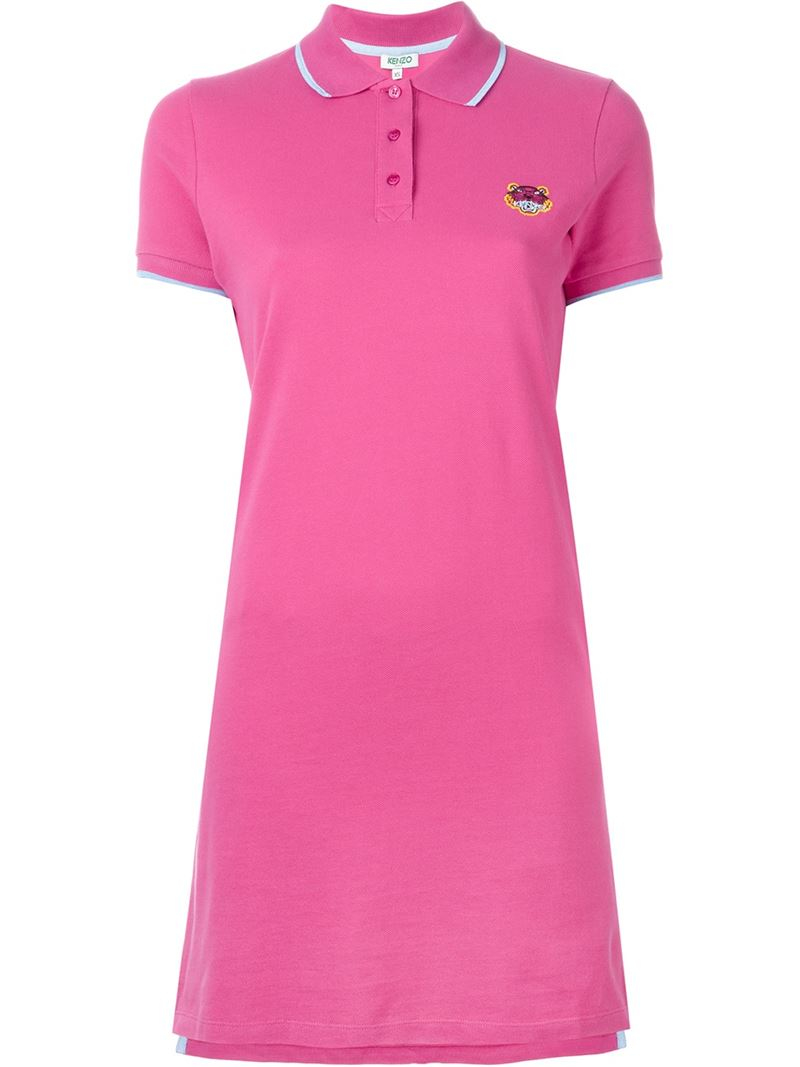 Lyst - KENZO  tiger  Polo Dress in Pink c738b56ad89e