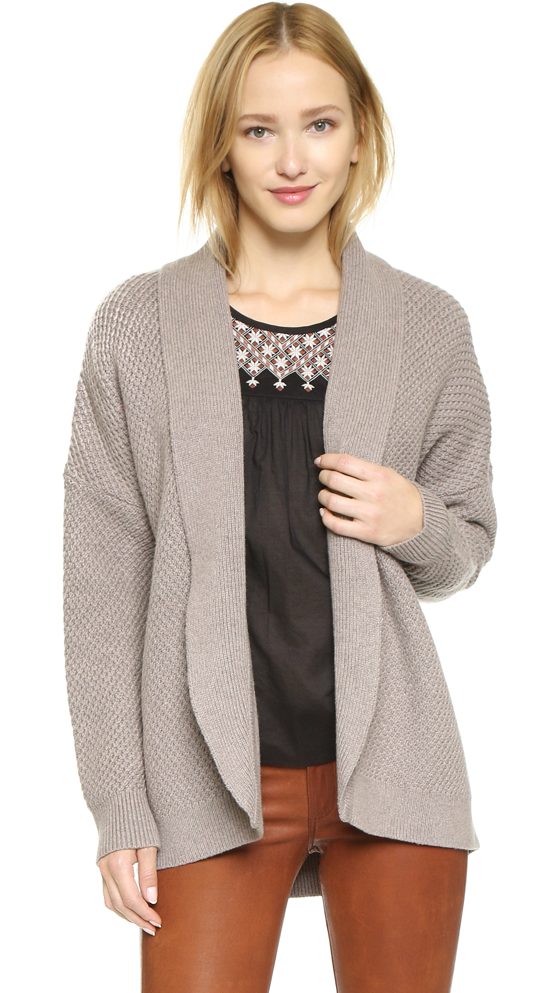 Madewell Solid Jessa Cocoon Cardigan in Brown | Lyst