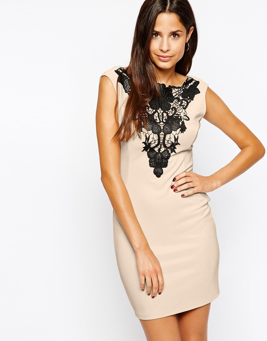 77accd0a404e Lyst - Lipsy Lace V-neck Bodycon Dress in Natural