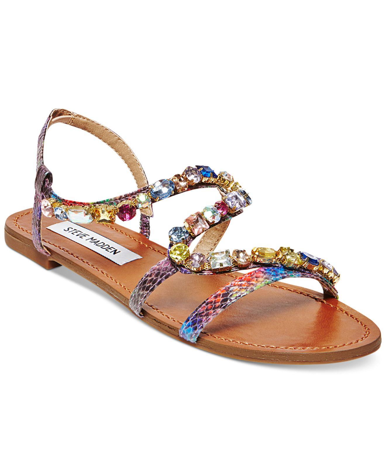 9babff5ed05a04 Lyst - Steve Madden Blazzzed Jeweled Flat Sandals