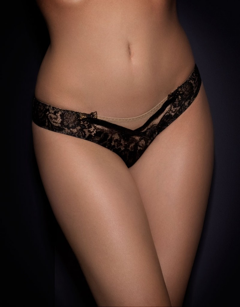 Lyst - Agent Provocateur Adelia Ouvert Black gold in Black d10eba1fc
