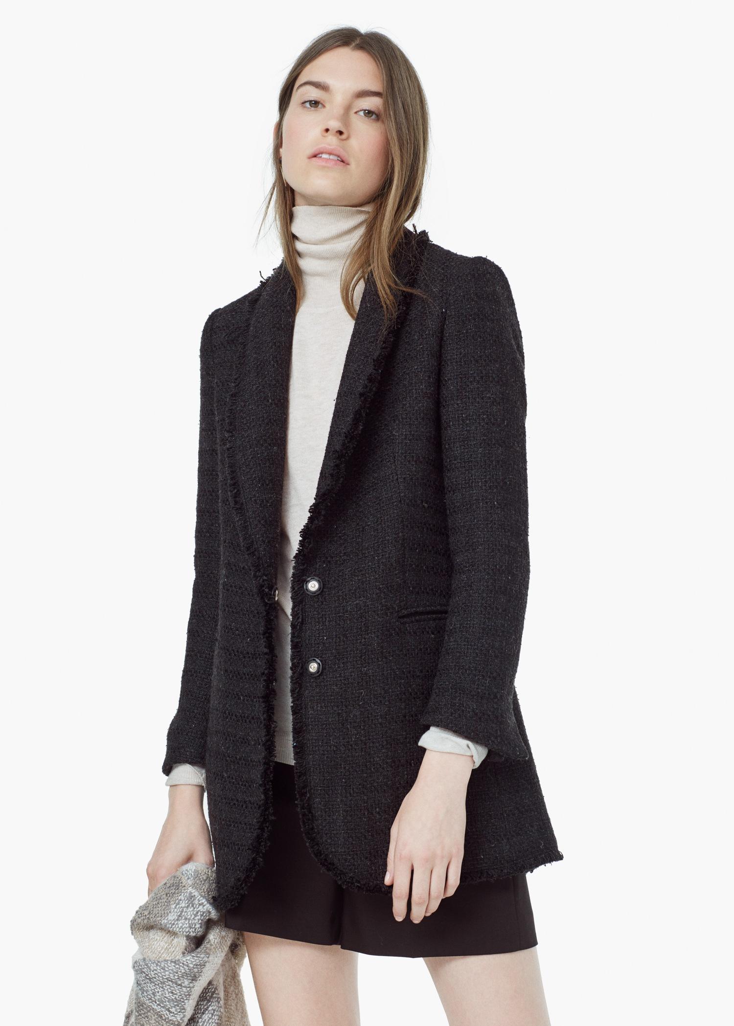 Lyst - Mango Pocket Tweed Jacket in Black 695c70087eb1